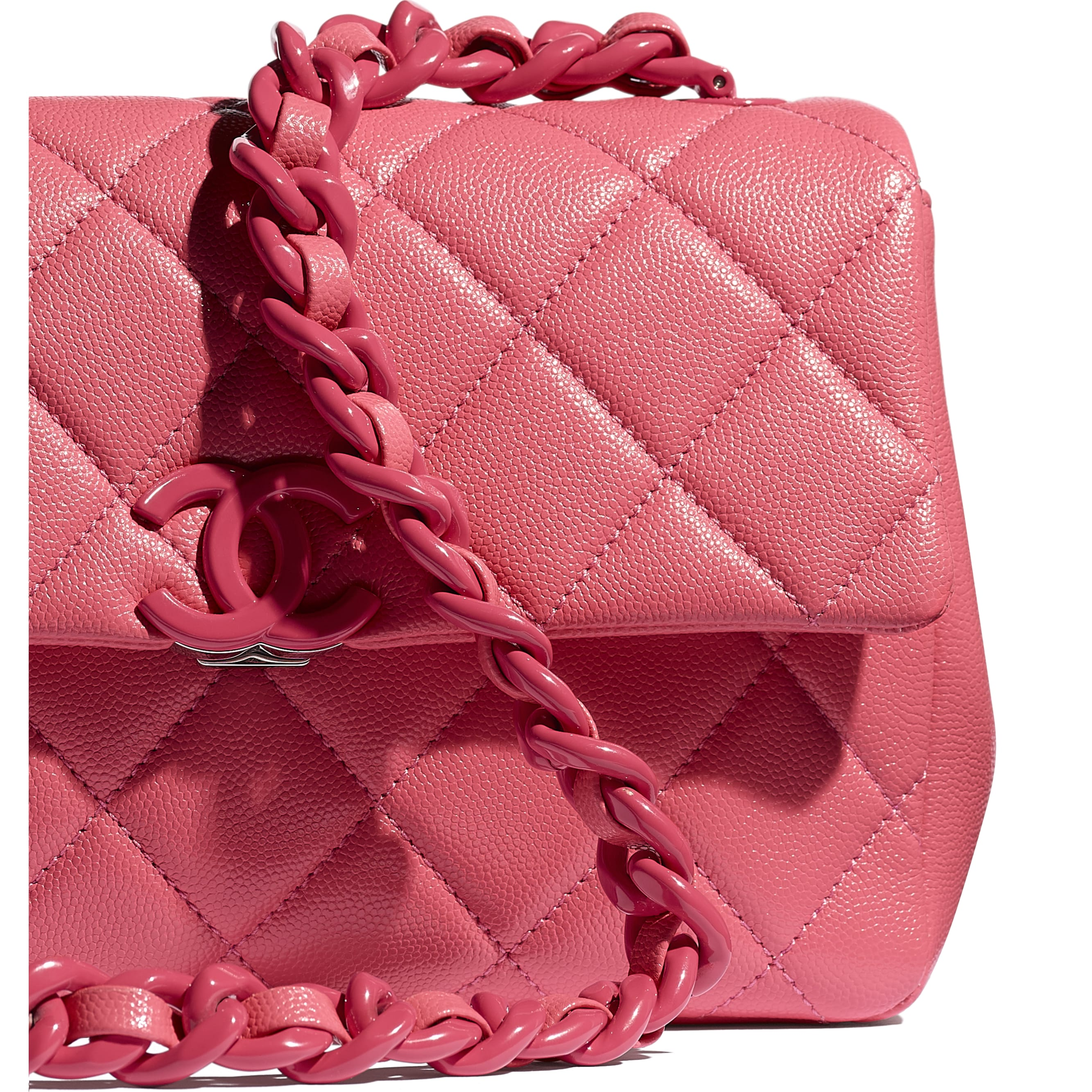 Flap Bag - Coral - Grained Calfskin & Lacquered Metal - CHANEL - Extra view - see standard sized version