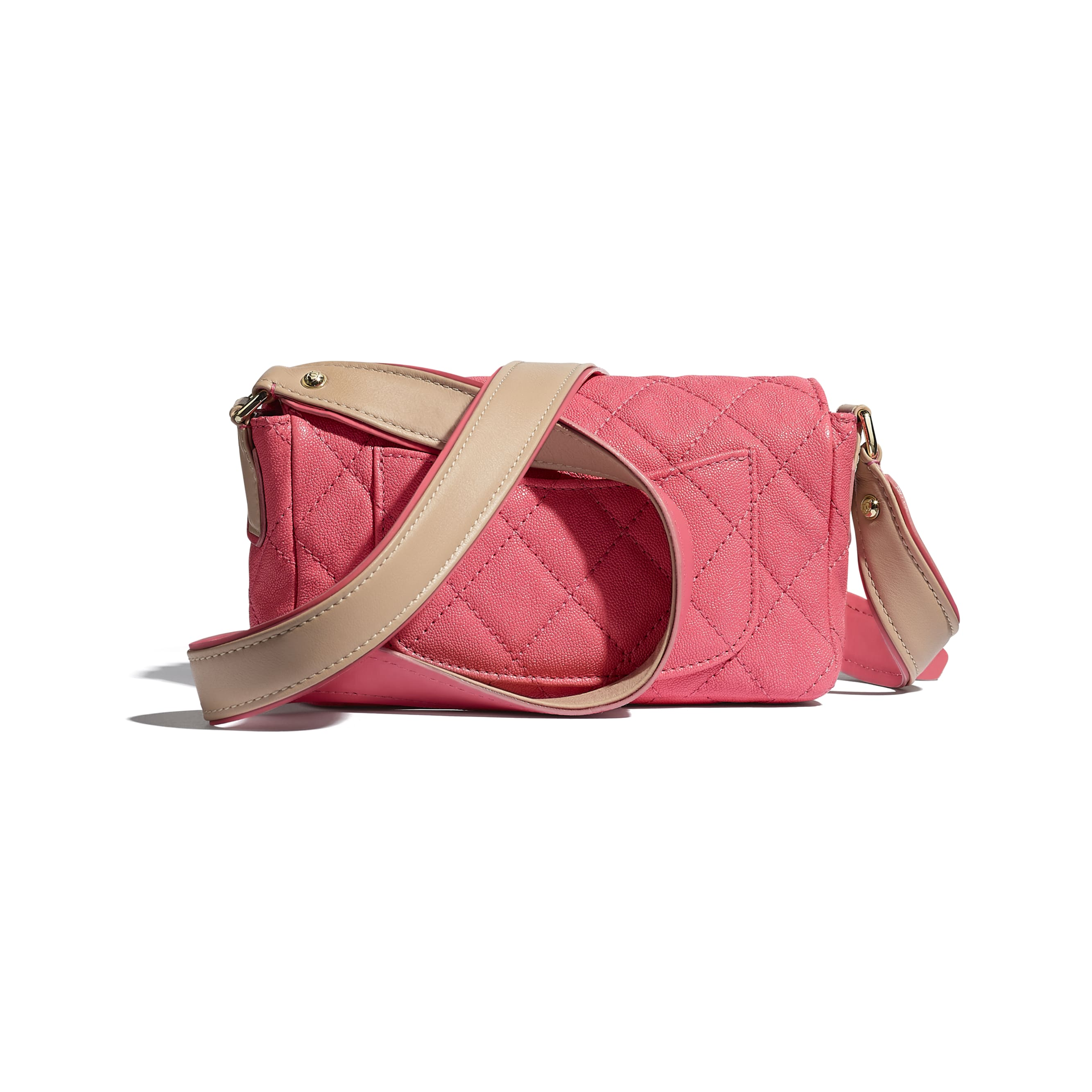 Flap Bag - Coral - Grained Calfskin, Smooth Calfskin & Gold-Tone Metal - CHANEL - Alternative view - see standard sized version