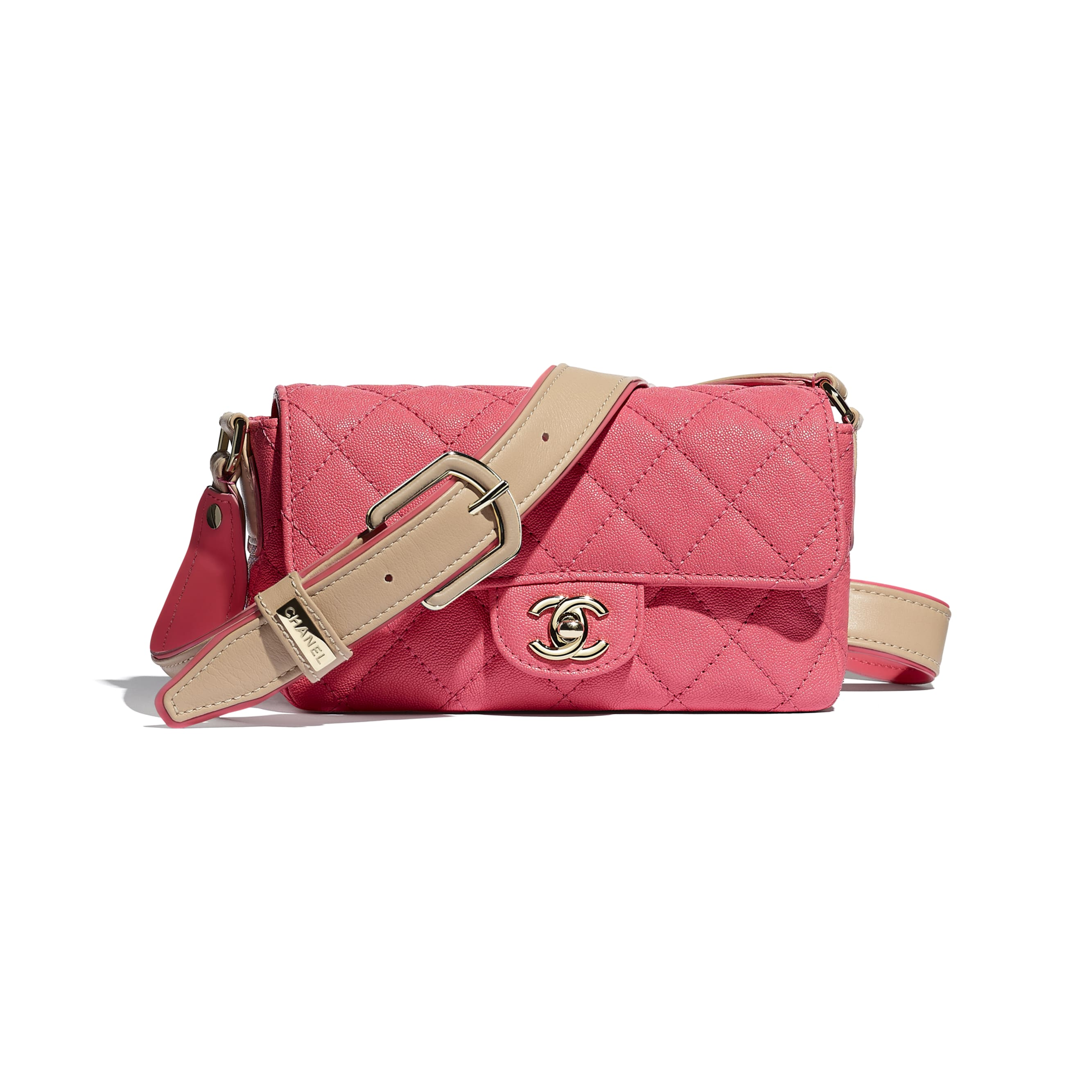 Flap Bag - Coral - Grained Calfskin, Smooth Calfskin & Gold-Tone Metal - CHANEL - Default view - see standard sized version