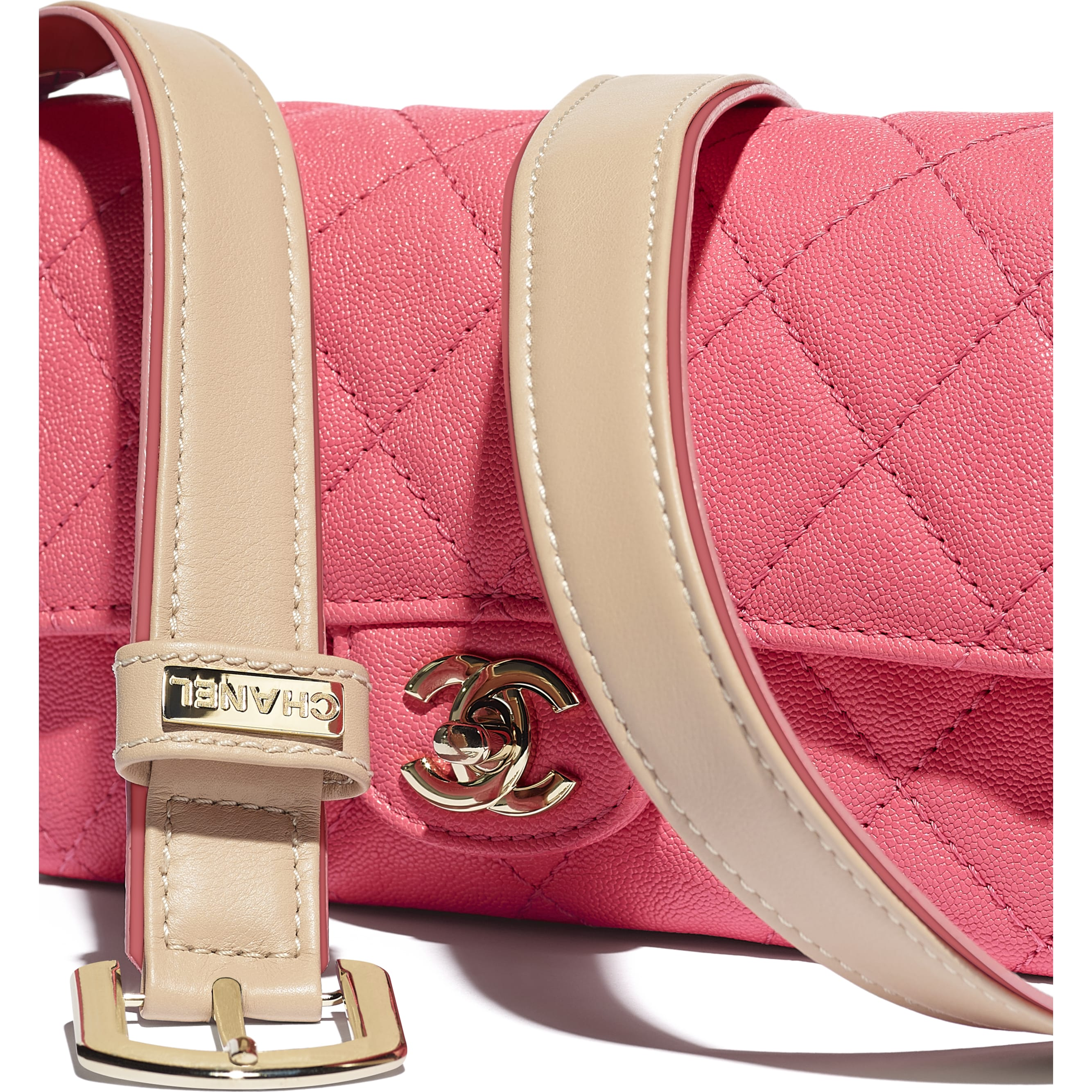 Flap Bag - Coral - Grained Calfskin, Smooth Calfskin & Gold-Tone Metal - CHANEL - Extra view - see standard sized version