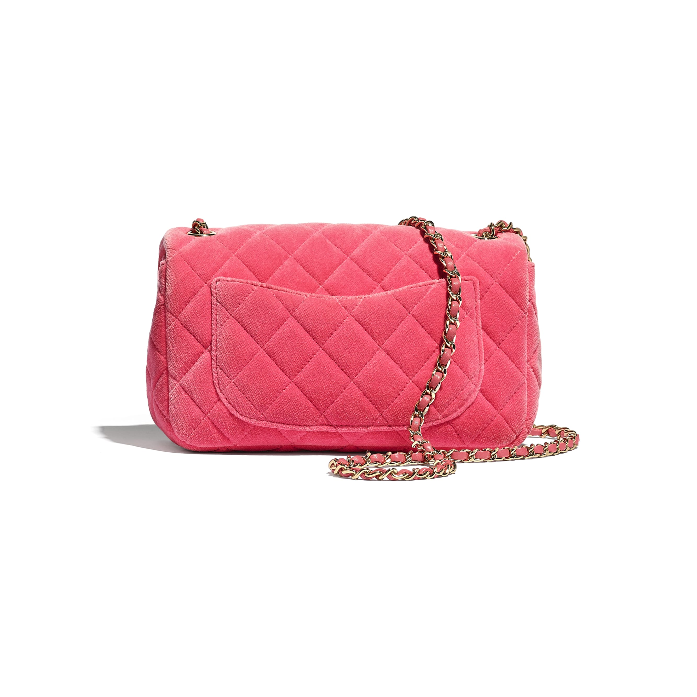 Flap Bag - Coral - Velvet, Strass & Gold-Tone Metal - CHANEL - Alternative view - see standard sized version