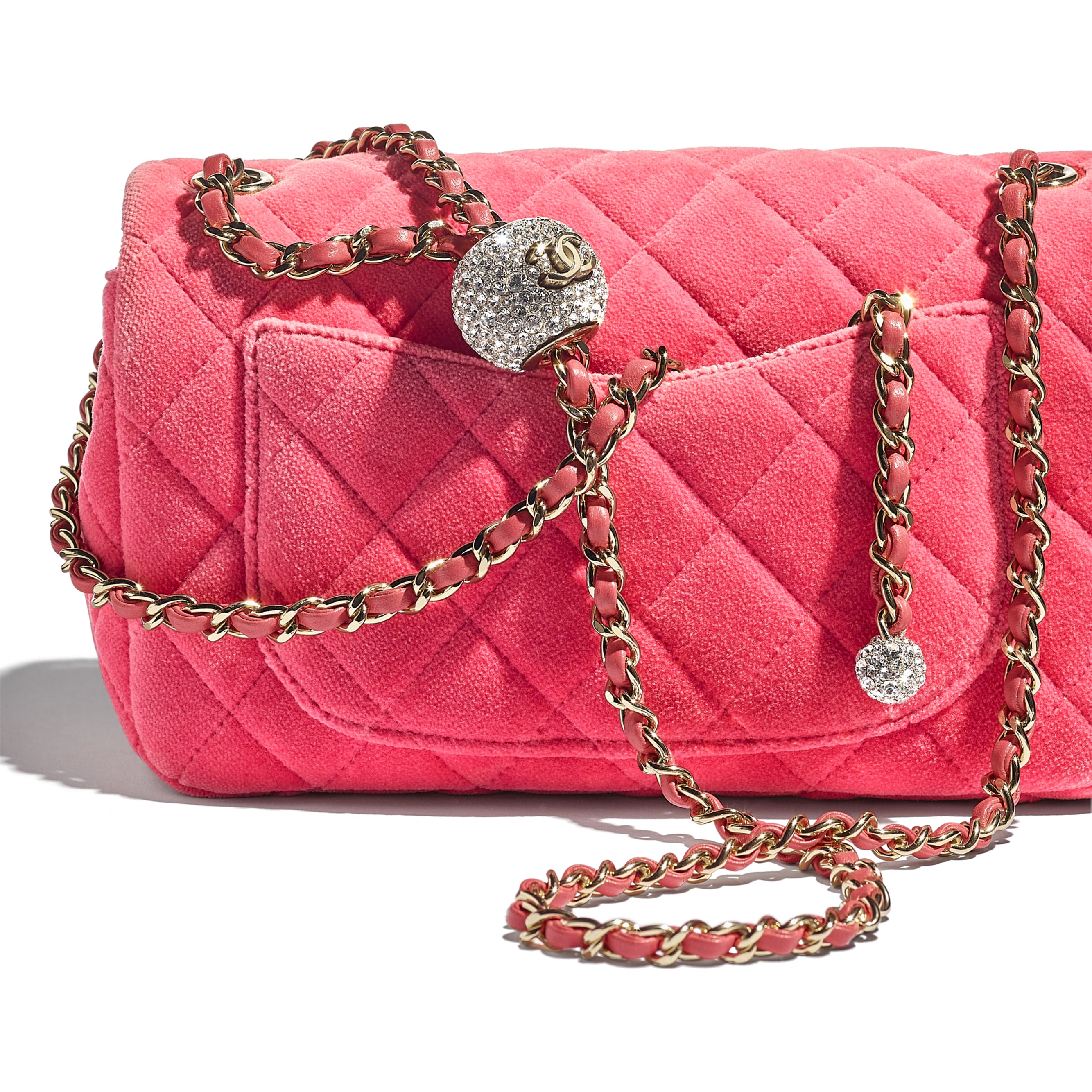 Flap Bag - Coral - Velvet, Diamanté & Gold-Tone Metal - CHANEL - Extra view - see standard sized version