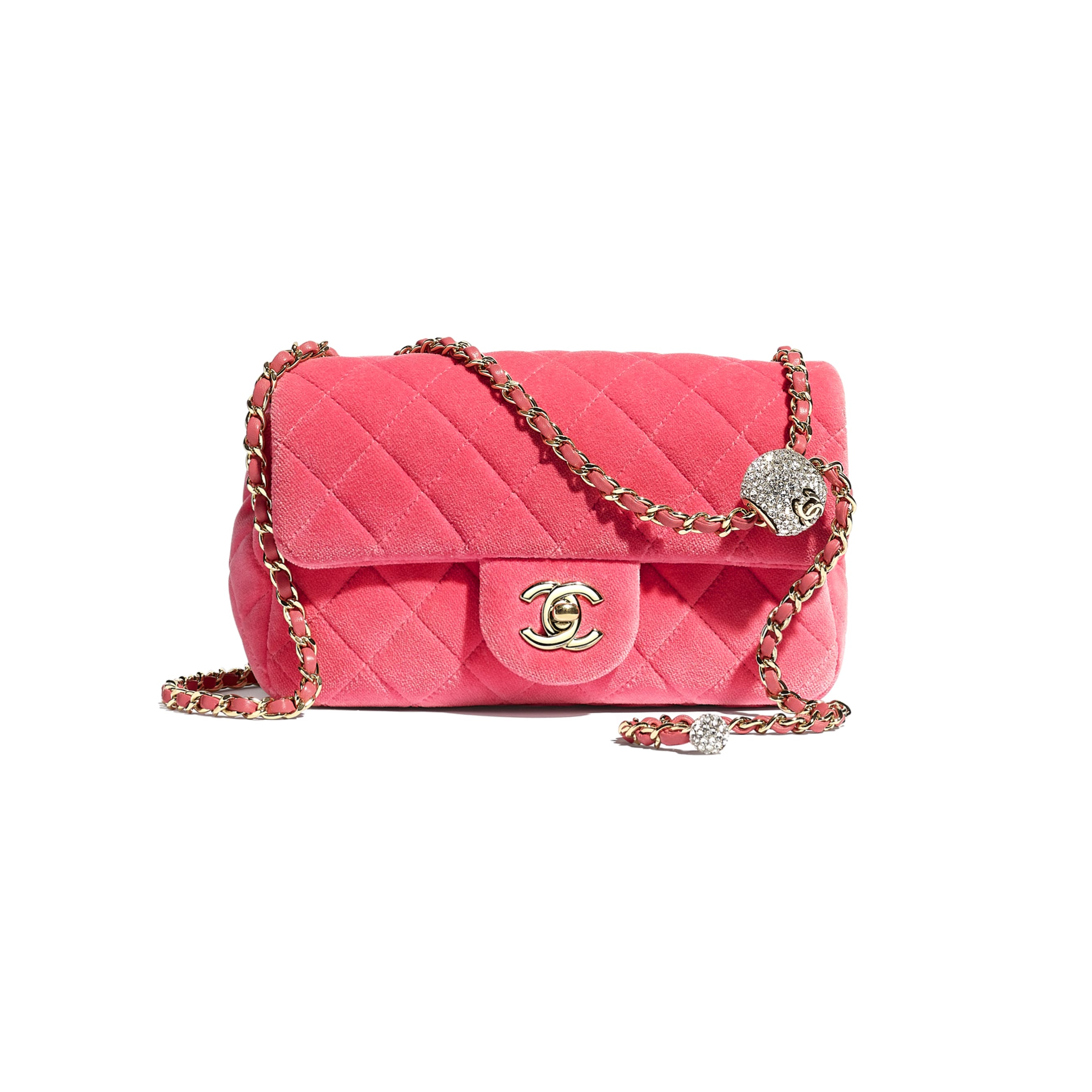 Flap Bag - Coral - Velvet, Diamanté & Silver-Tone Metal - CHANEL - Default view - see standard sized version
