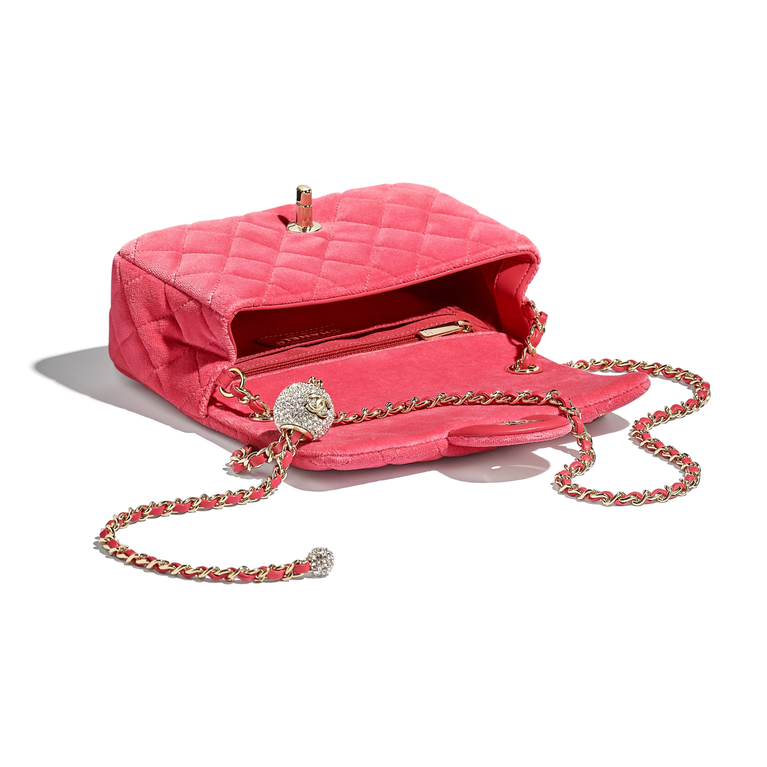 Flap Bag - Coral - Velvet, Diamanté & Silver-Tone Metal - CHANEL - Other view - see standard sized version