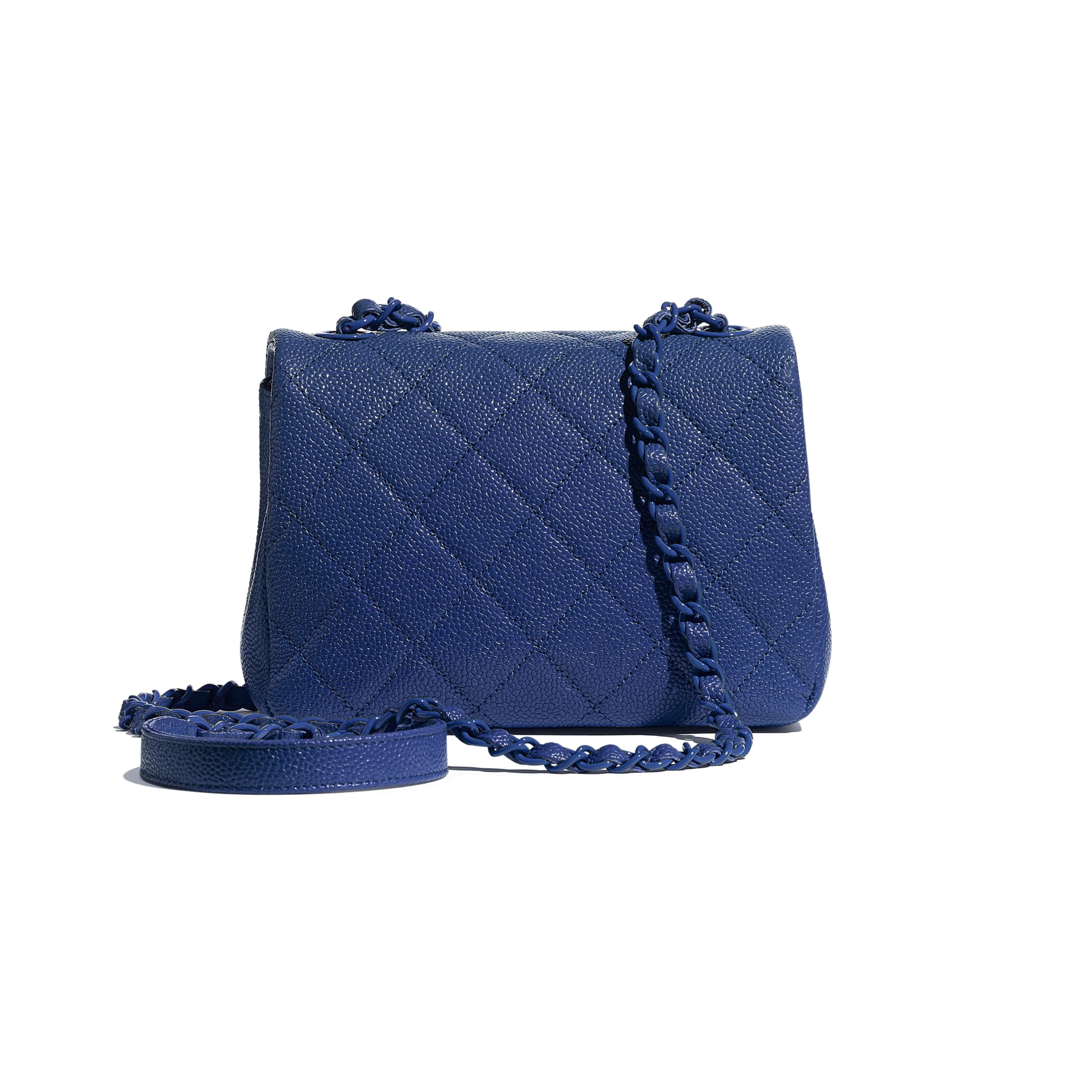 Flap Bag - Dark Blue - Grained Calfskin & Lacquered Metal - Alternative view - see standard sized version