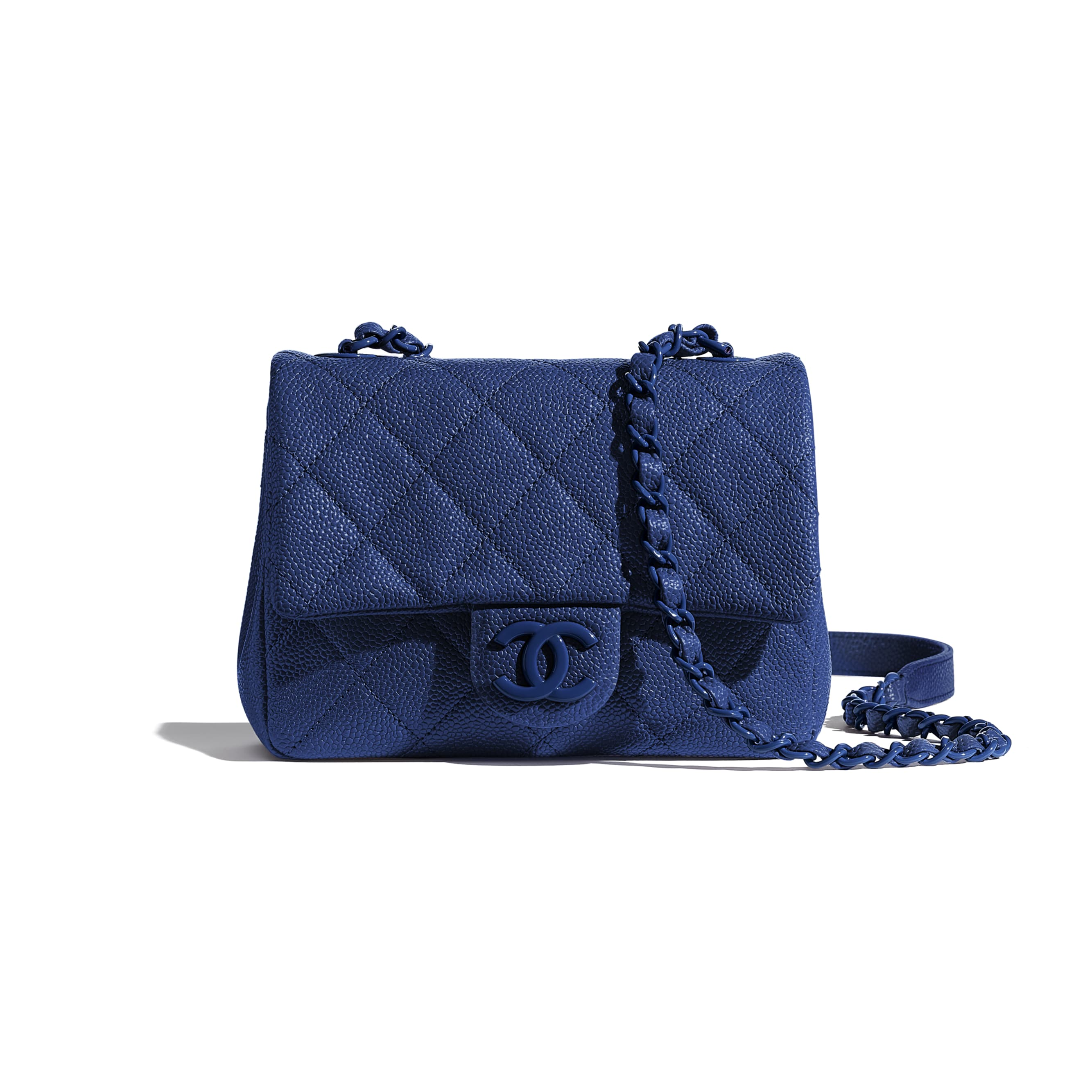 Flap Bag - Dark Blue - Grained Calfskin & Lacquered Metal - Default view - see standard sized version