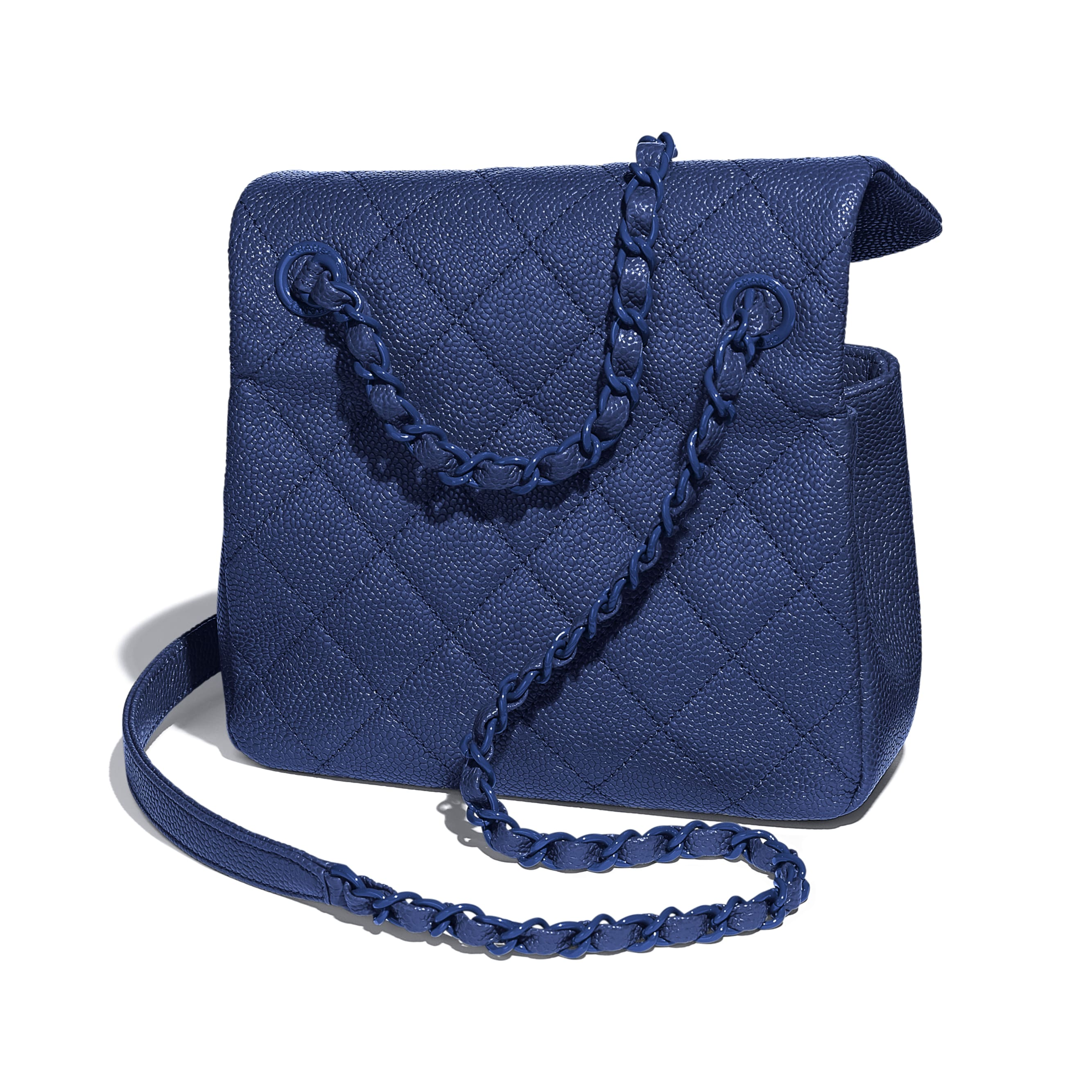 Flap Bag - Dark Blue - Grained Calfskin & Lacquered Metal - Extra view - see standard sized version