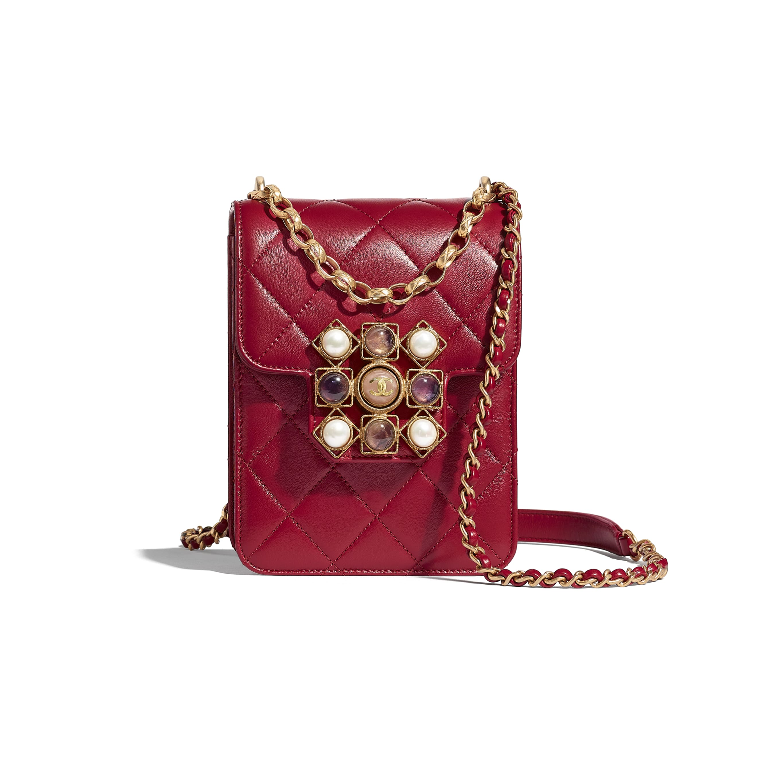 Flap Bag - Fuchsia - Calfskin, Pearls, Amethyst, Quartz & Gold-Tone Metal - CHANEL - Default view - see standard sized version