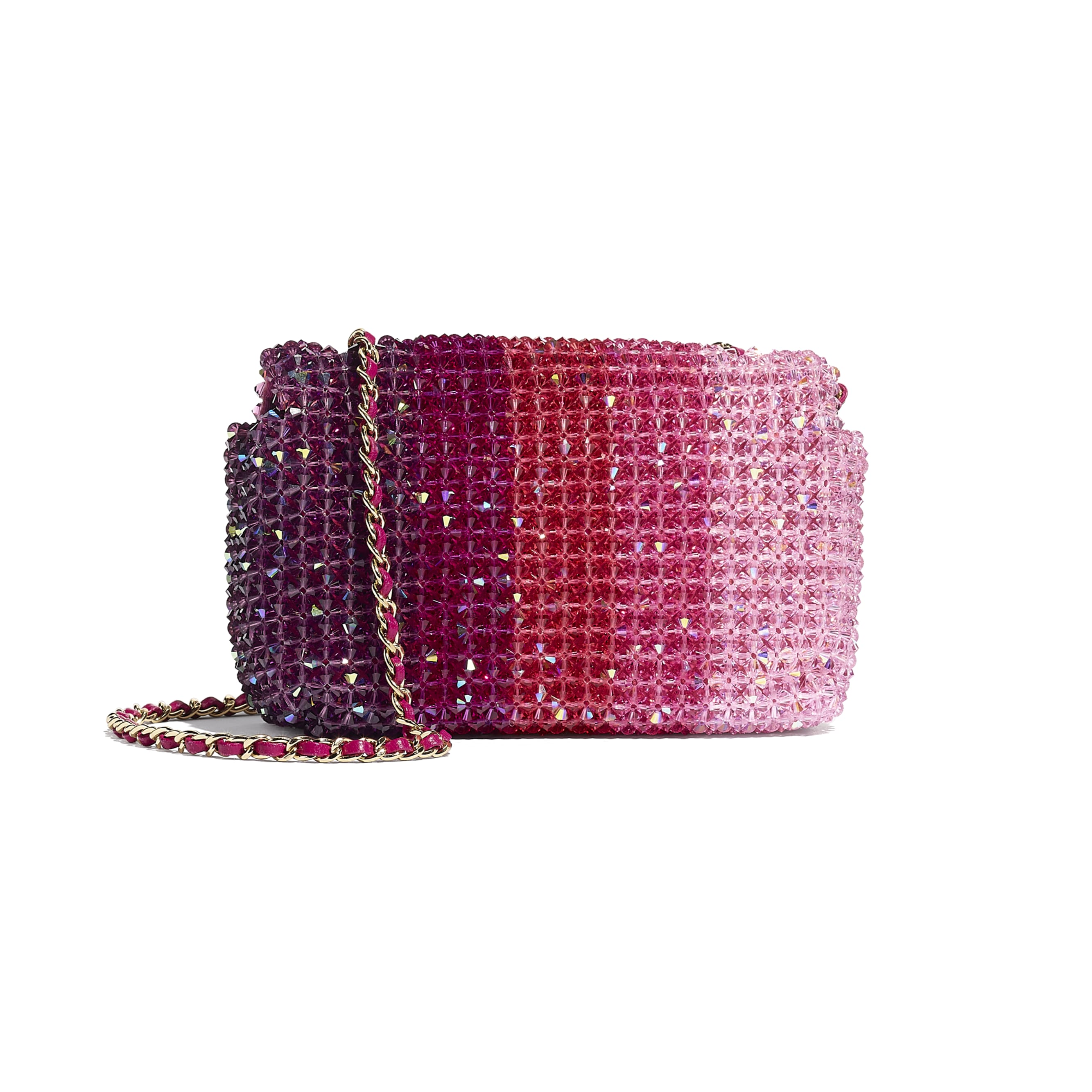 Flap Bag - Fuchsia, Pink & Light Pink - Crystal & Gold-Tone Metal - Alternative view - see standard sized version