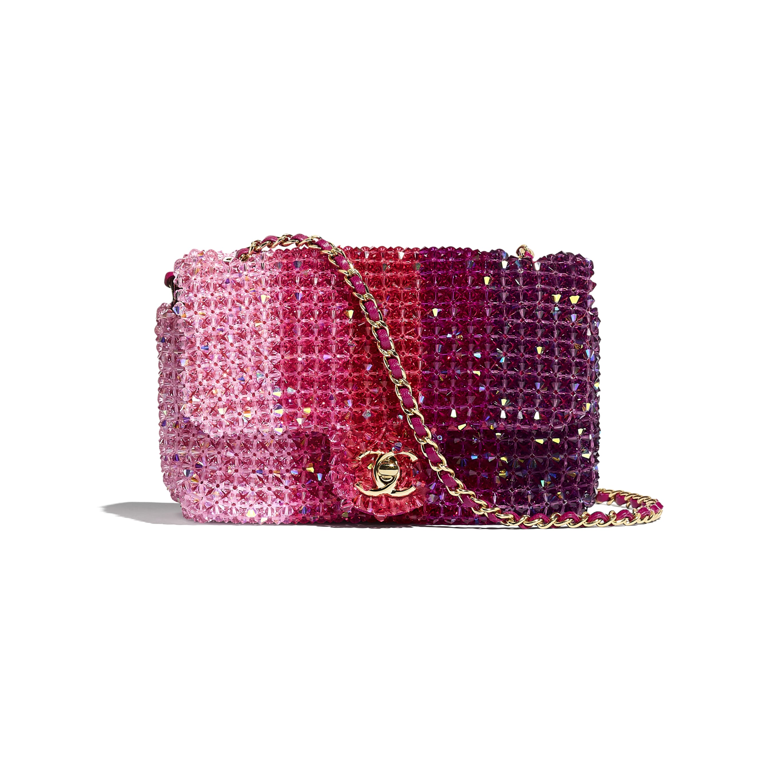 Flap Bag - Fuchsia, Pink & Light Pink - Crystal & Gold-Tone Metal - Default view - see standard sized version
