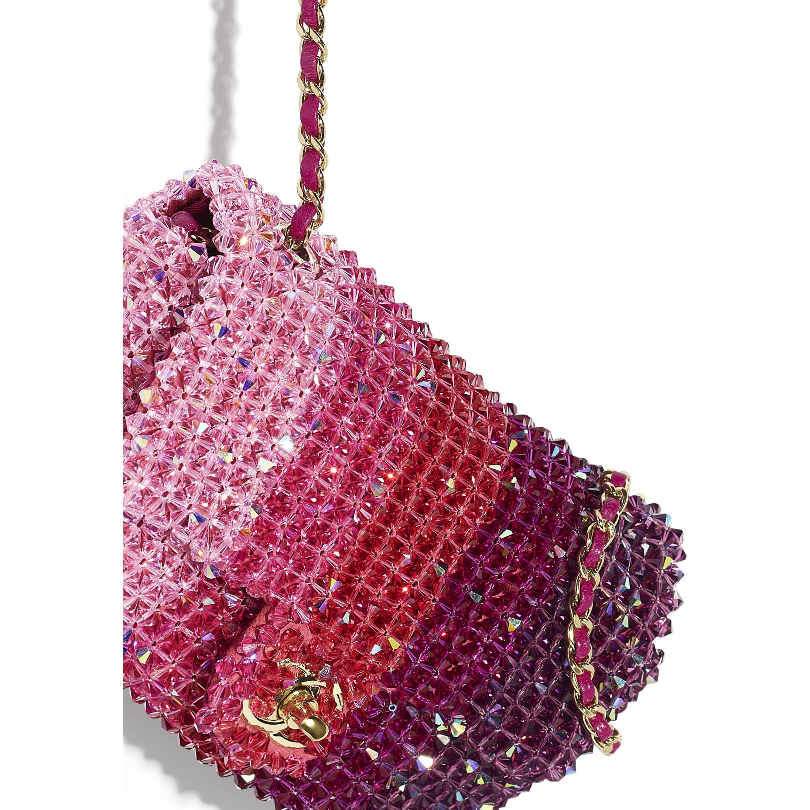 Flap Bag - Fuchsia, Pink & Light Pink - Crystal & Gold-Tone Metal - Extra view - see standard sized version