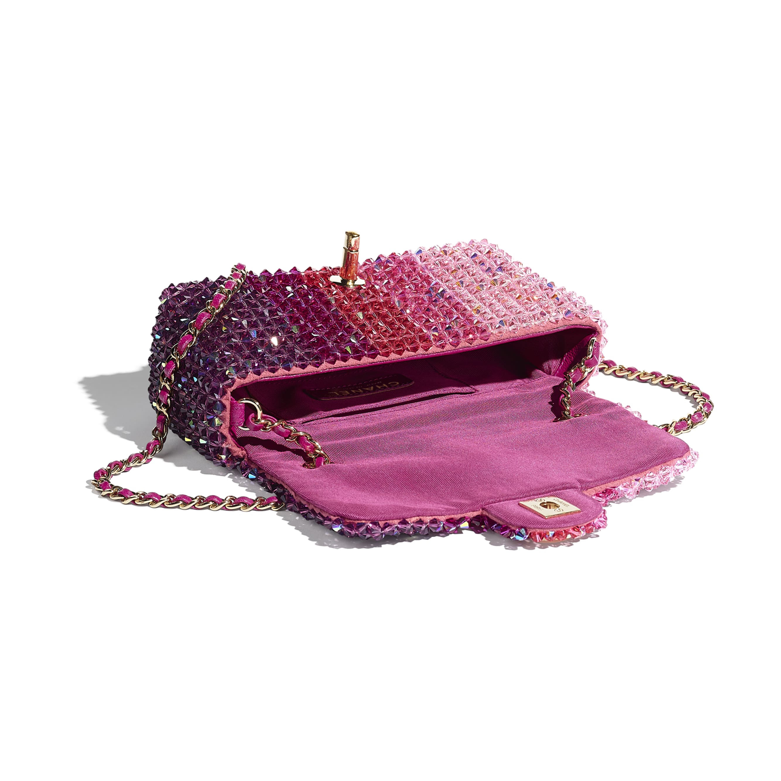 Flap Bag - Fuchsia, Pink & Light Pink - Crystal & Gold-Tone Metal - Other view - see standard sized version