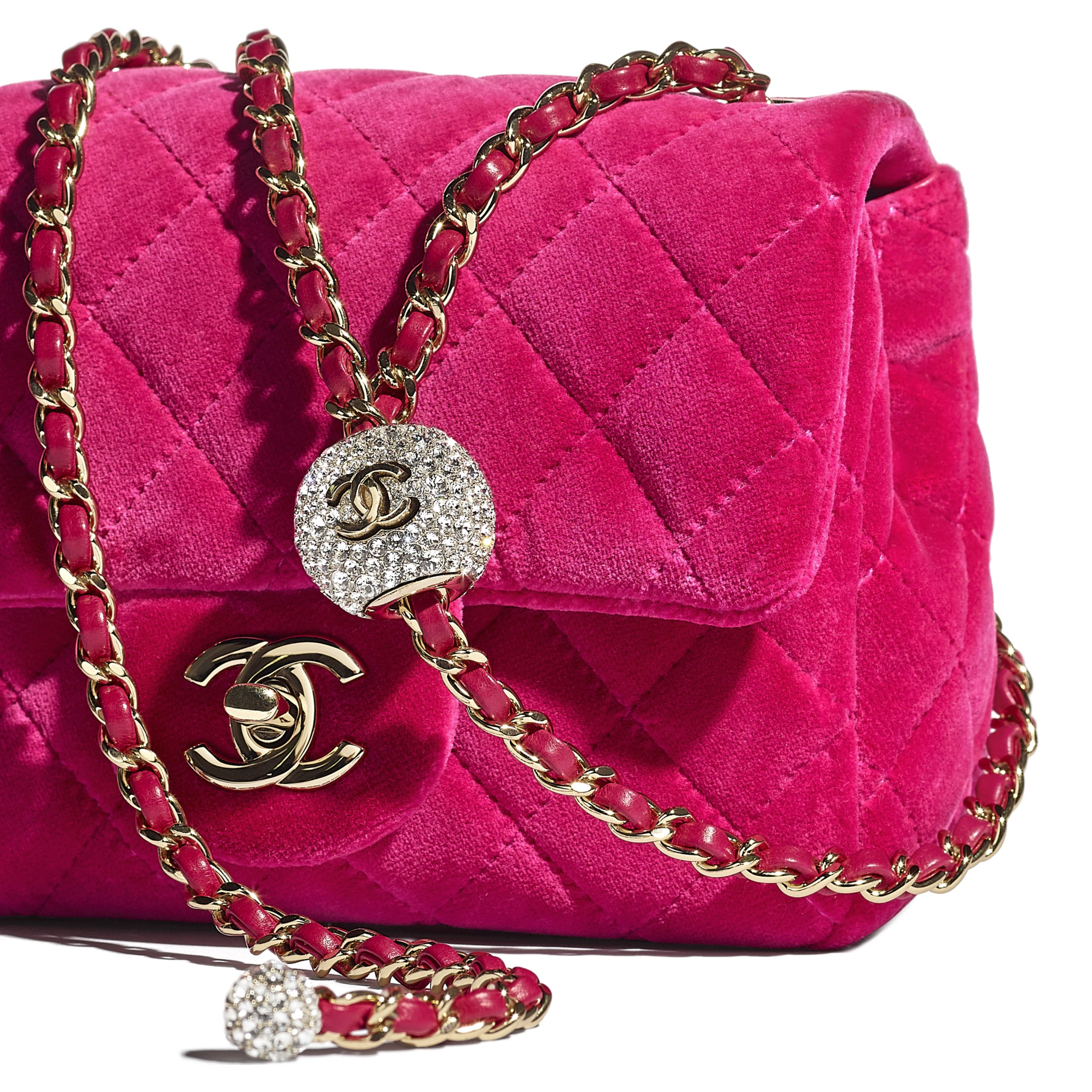 Flap Bag - Fuchsia - Velvet, Diamanté & Gold-Tone Metal - CHANEL - Extra view - see standard sized version