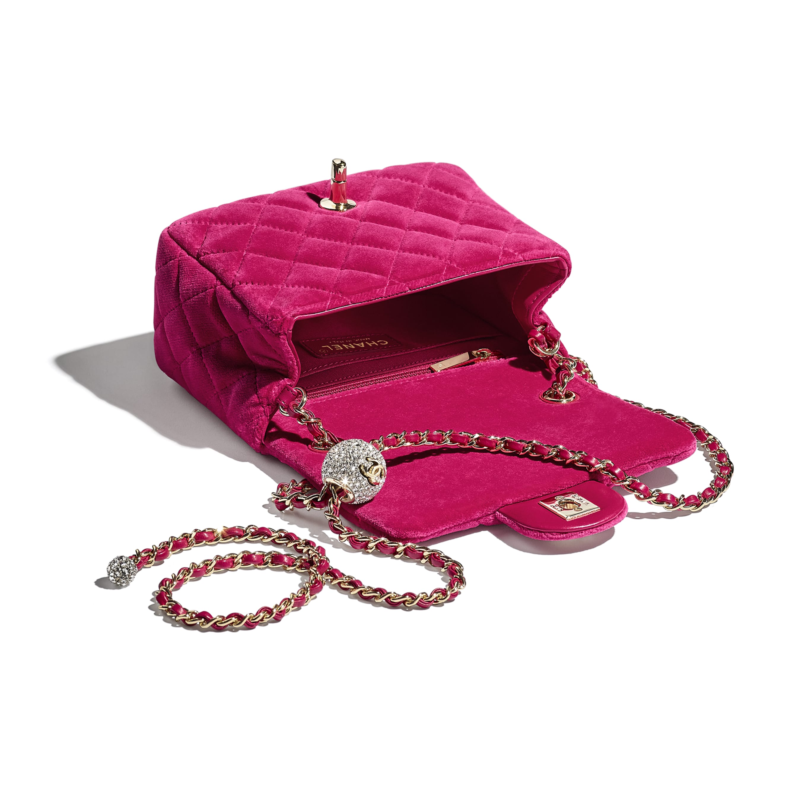 Flap Bag - Fuchsia - Velvet, Diamanté & Gold-Tone Metal - CHANEL - Other view - see standard sized version