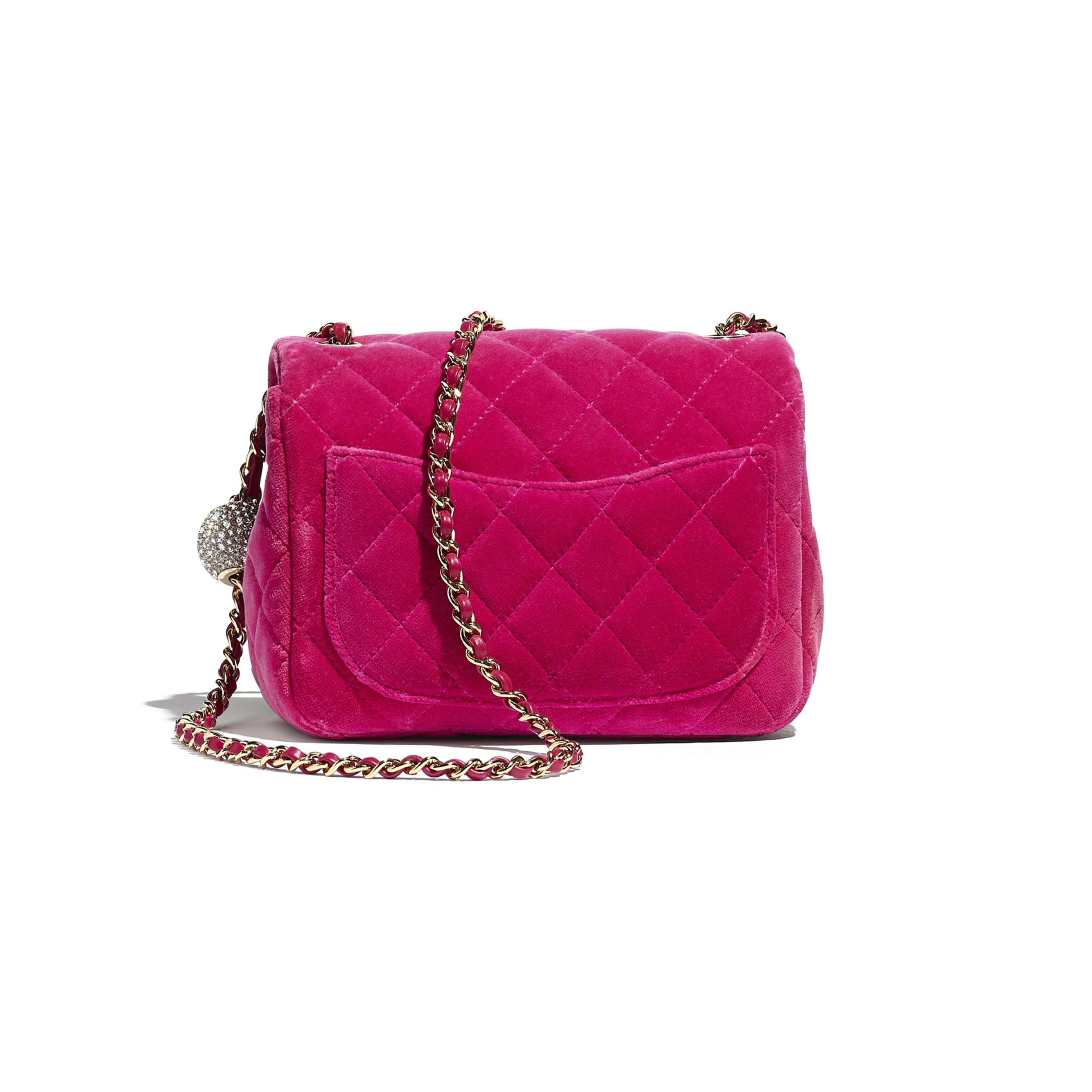 Flap Bag - Fuchsia - Velvet, Diamanté & Silver-Tone Metal - CHANEL - Alternative view - see standard sized version