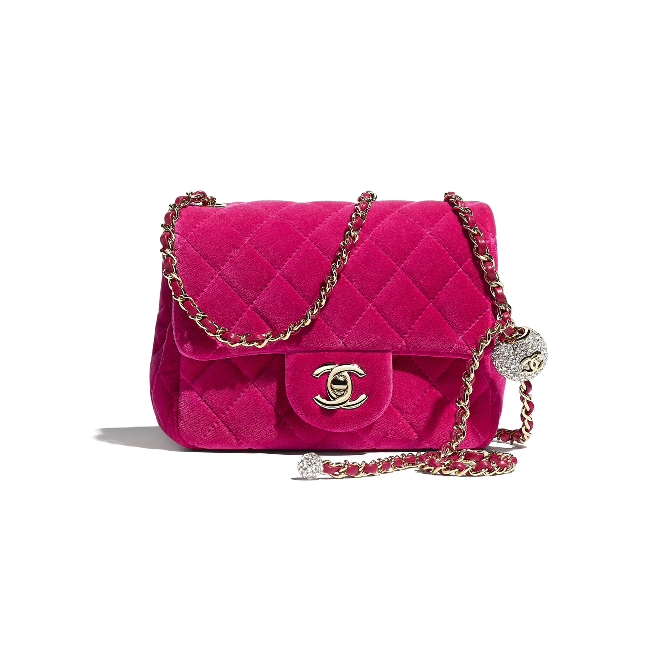 Flap Bag - Fuchsia - Velvet, Diamanté & Silver-Tone Metal - CHANEL - Default view - see standard sized version