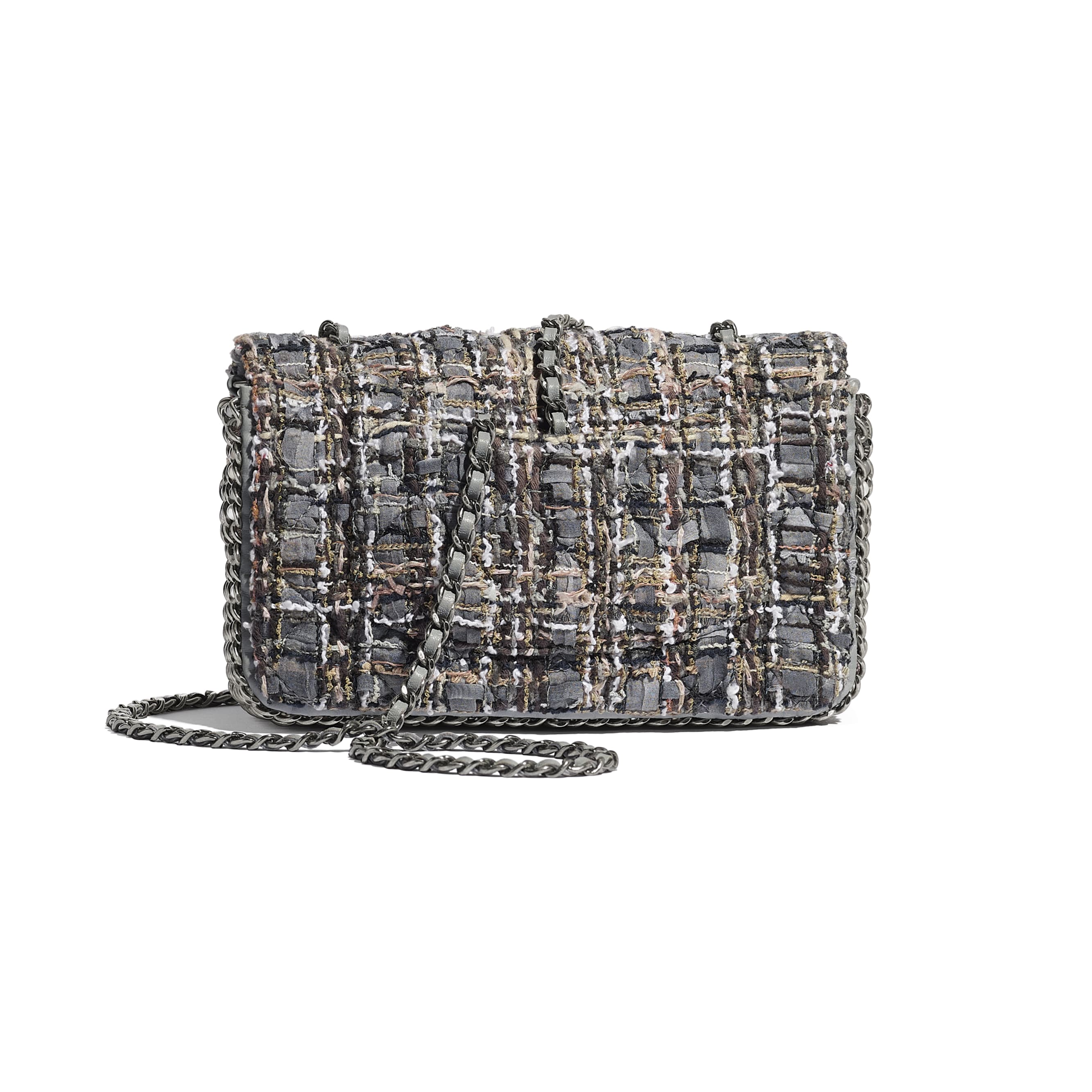 Flap Bag - Grey, Beige, Brown & White - Tweed, Imitation Pearls & Ruthenium-Finish Metal - CHANEL - Alternative view - see standard sized version