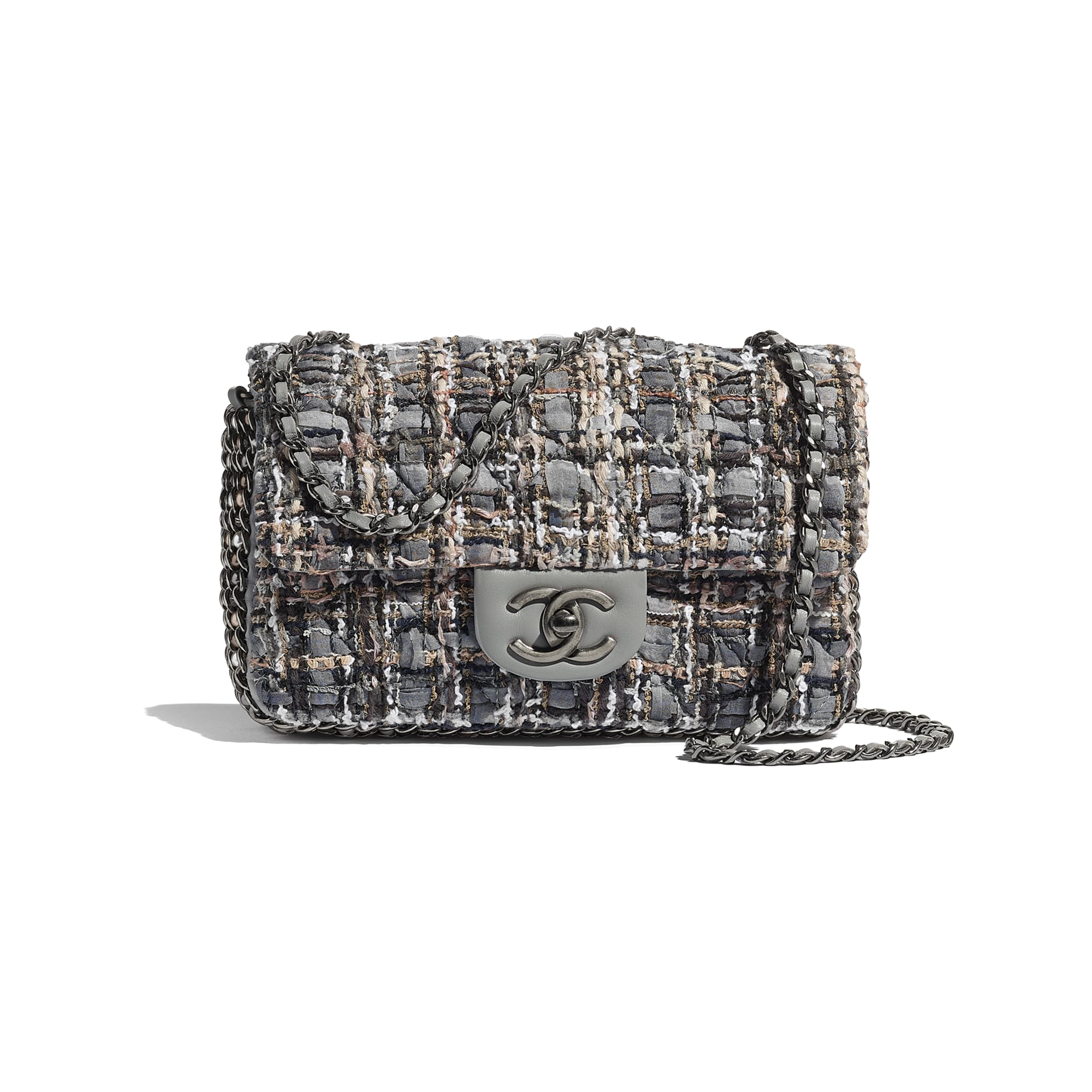 Flap Bag - Grey, Beige, Brown & White - Tweed, Imitation Pearls & Ruthenium-Finish Metal - Default view - see standard sized version