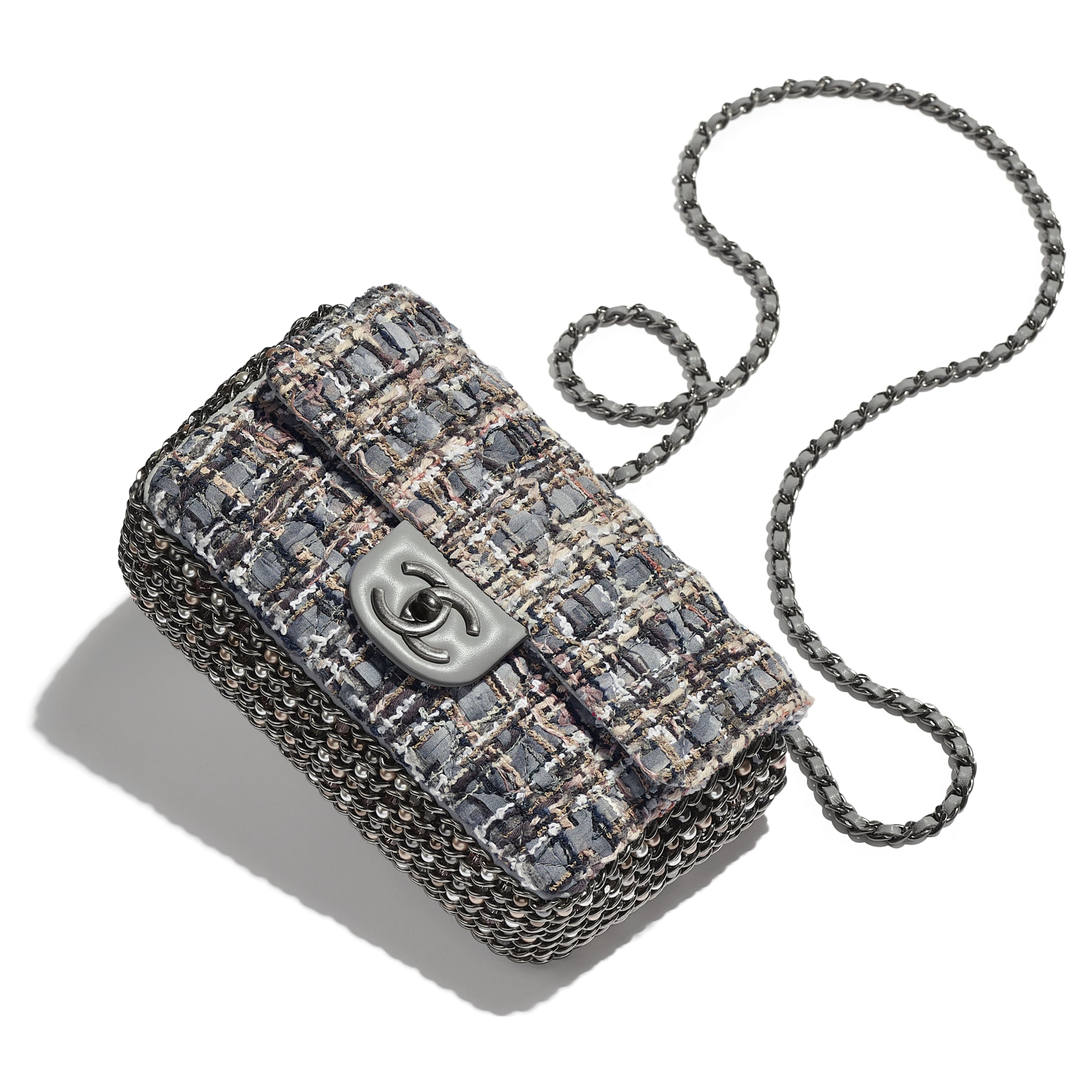 Flap Bag - Grey, Beige, Brown & White - Tweed, Imitation Pearls & Ruthenium-Finish Metal - Extra view - see standard sized version
