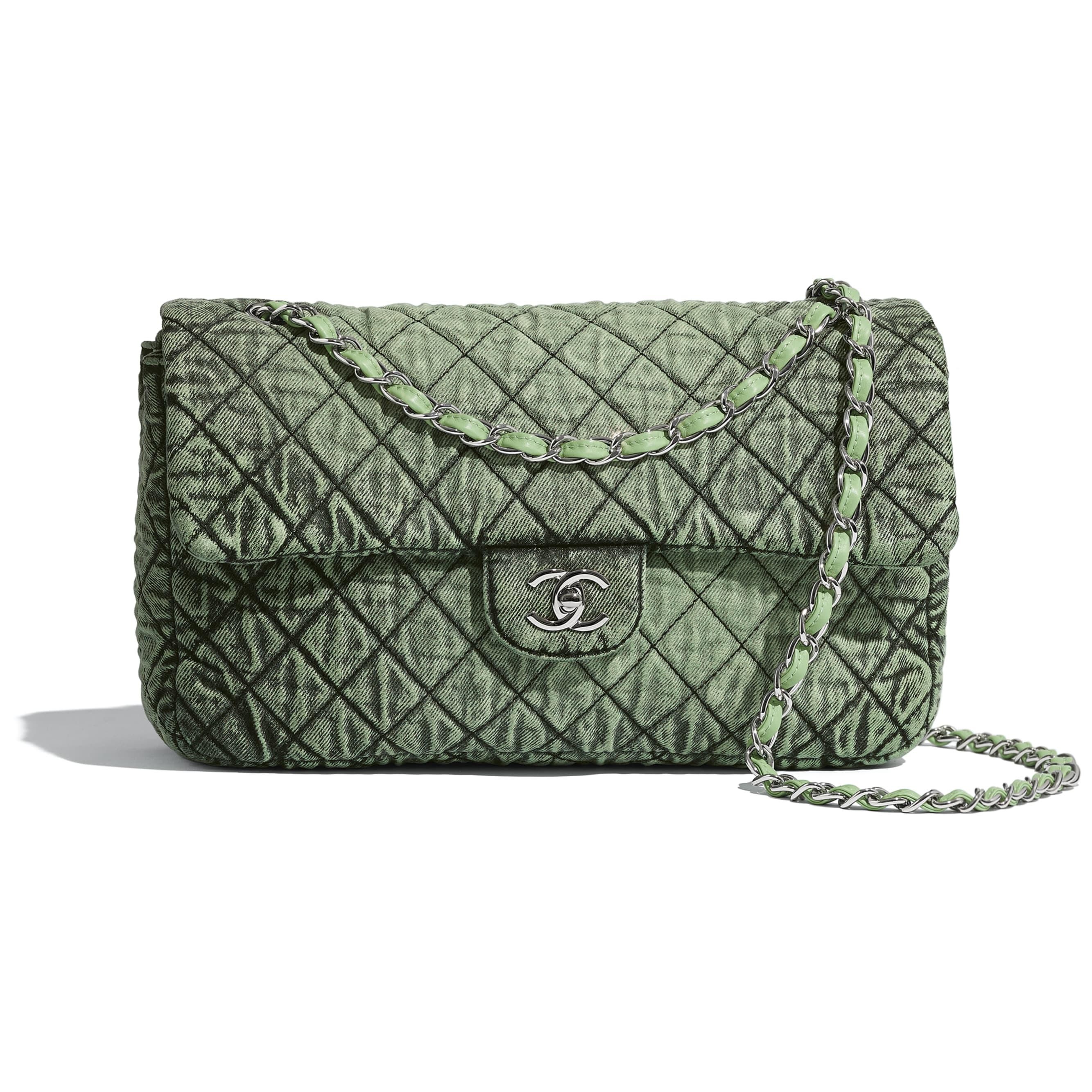 Flap Bag - Green & Black - Denim & Silver-Tone Metal - CHANEL - Default view - see standard sized version
