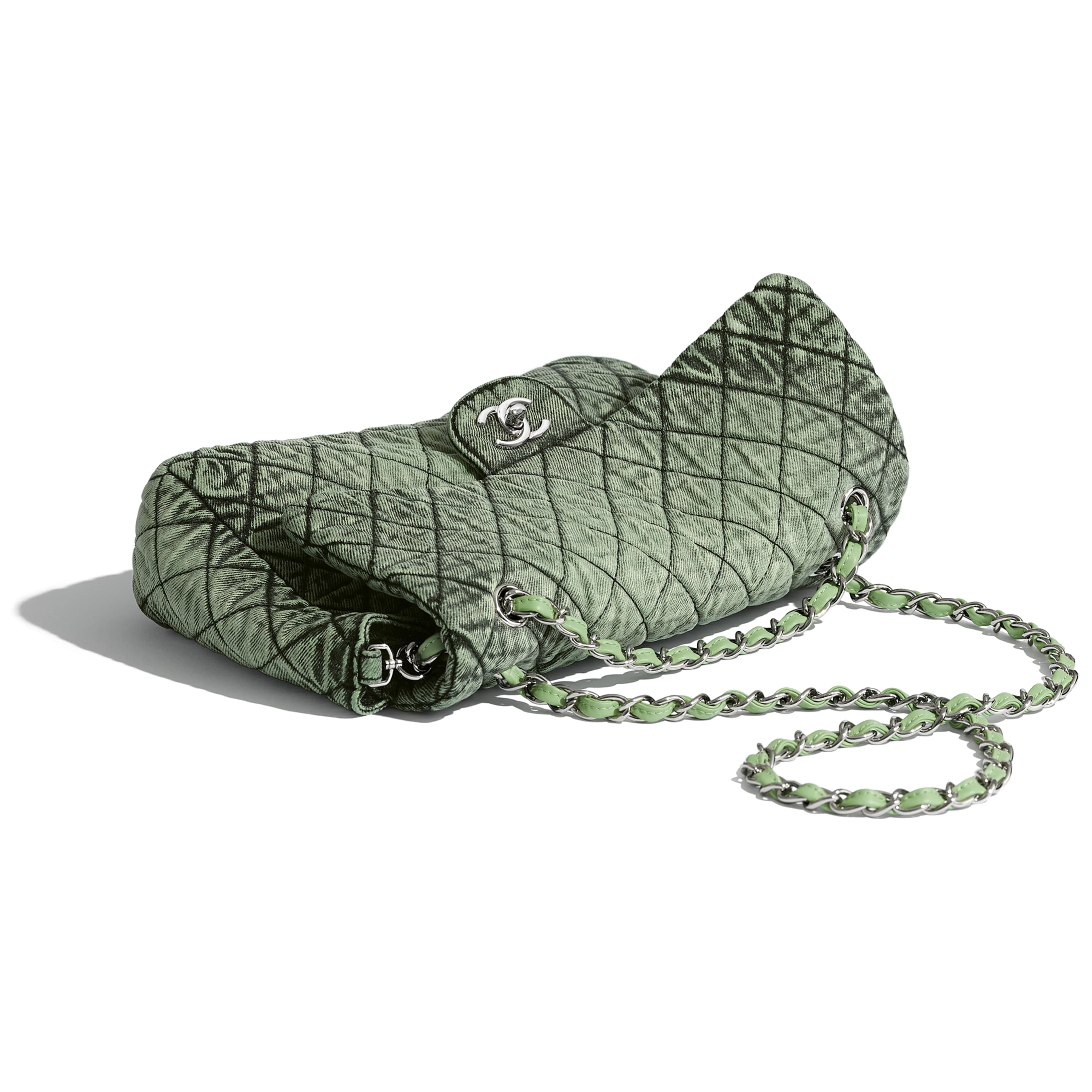 Flap Bag - Green & Black - Denim & Silver-Tone Metal - CHANEL - Extra view - see standard sized version