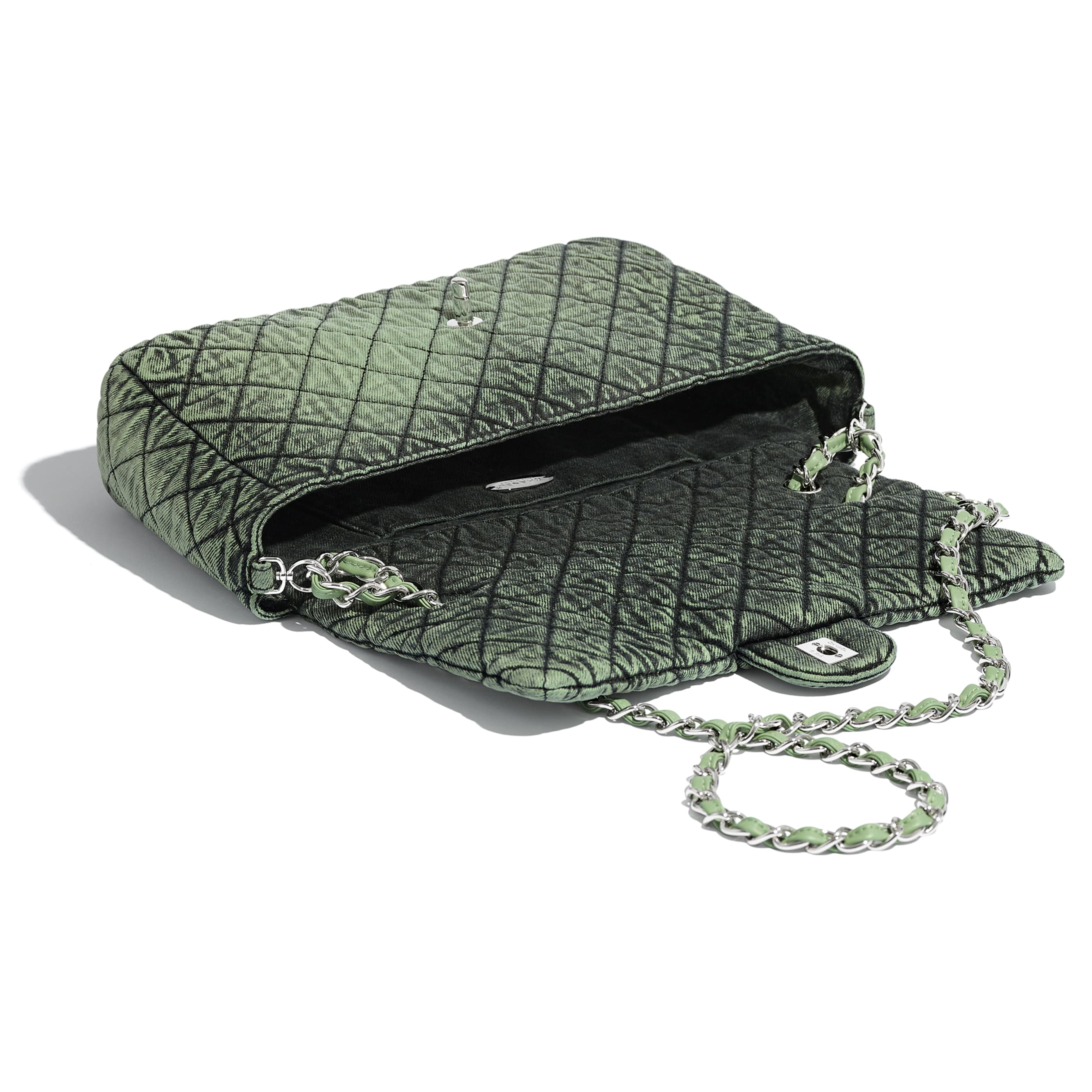 Flap Bag - Green & Black - Denim & Silver-Tone Metal - CHANEL - Other view - see standard sized version