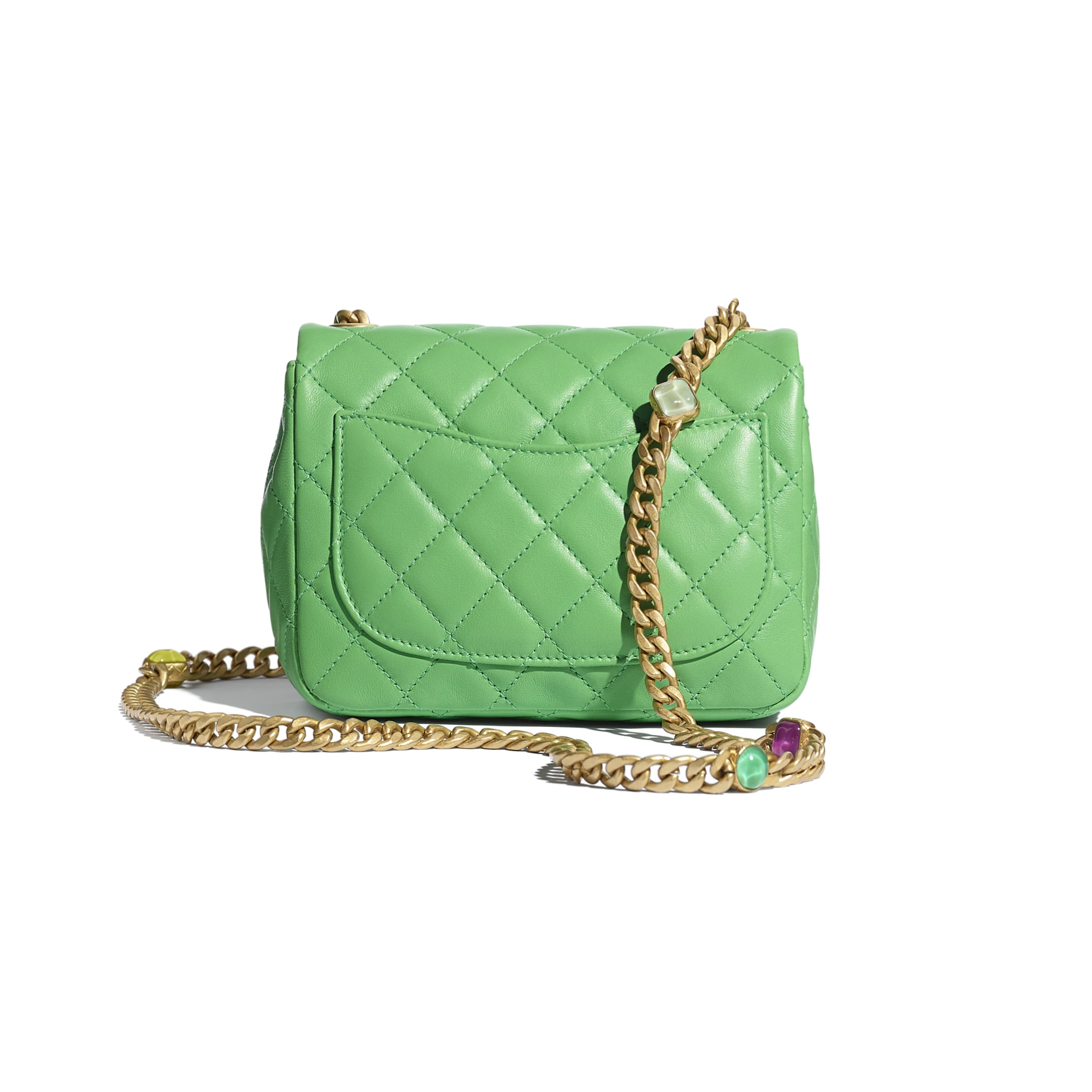 Flap Bag - Green - Lambskin, Resin & Gold-Tone Metal - CHANEL - Alternative view - see standard sized version