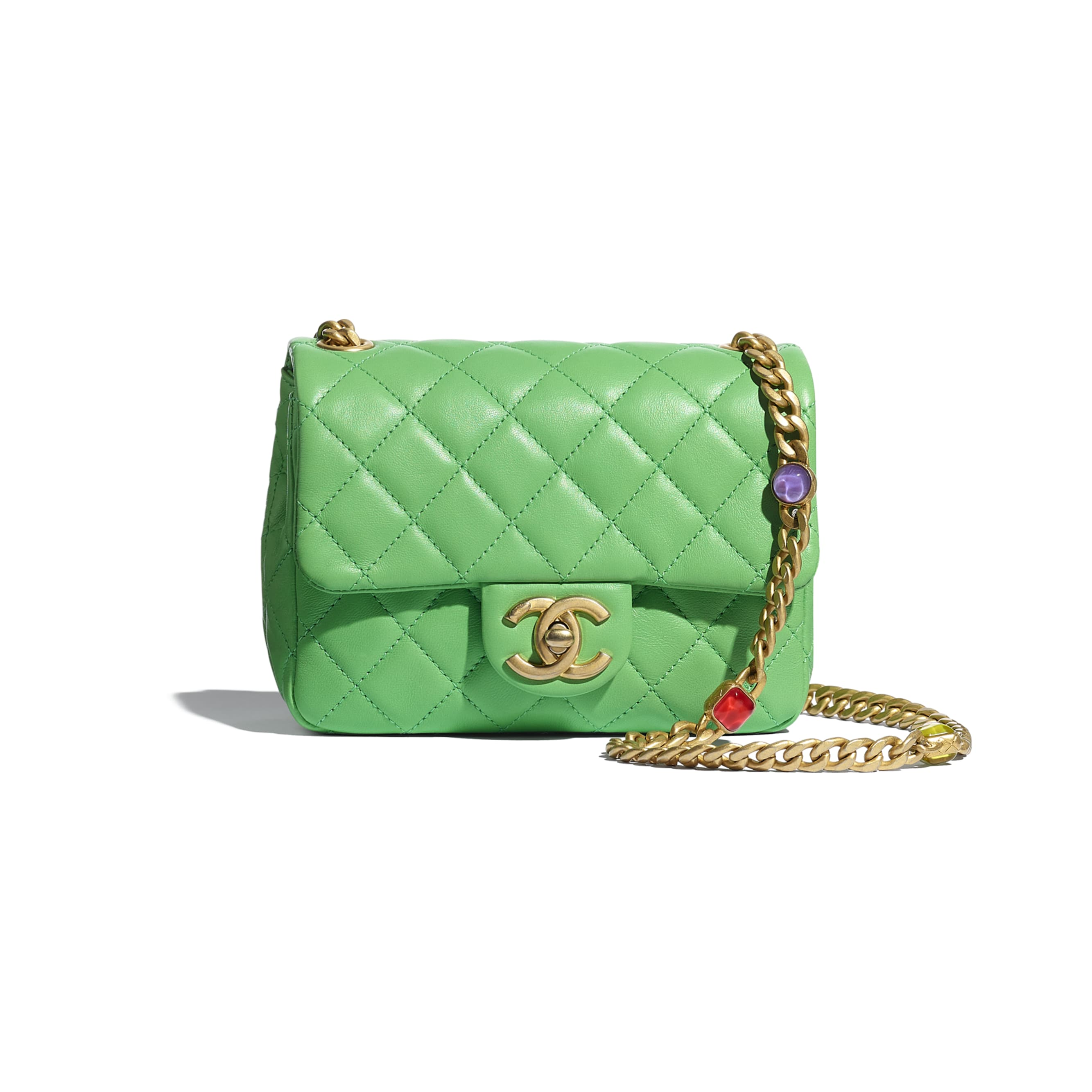 Flap Bag - Green - Lambskin, Resin & Gold-Tone Metal - CHANEL - Default view - see standard sized version
