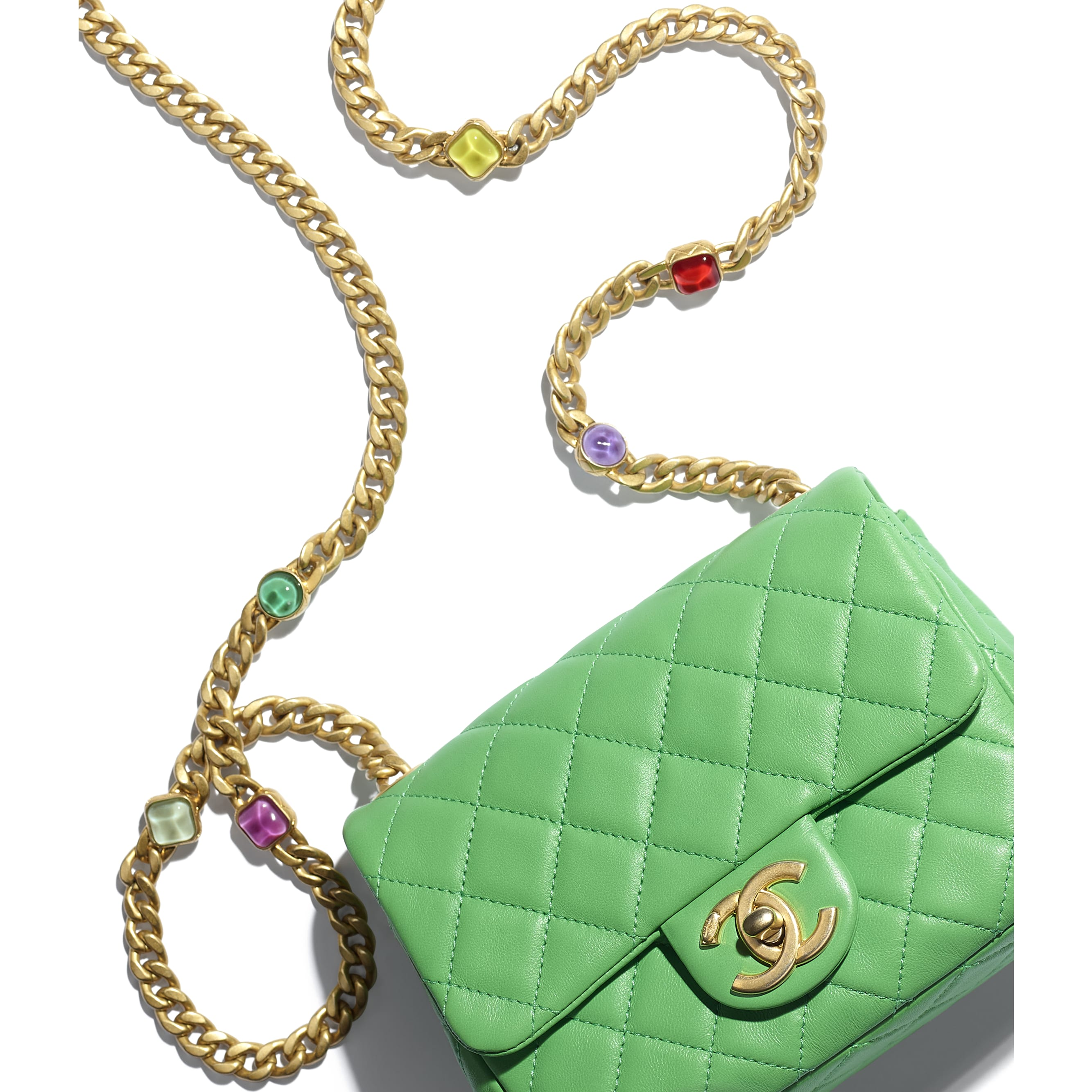 Flap Bag - Green - Lambskin, Resin & Gold-Tone Metal - CHANEL - Extra view - see standard sized version