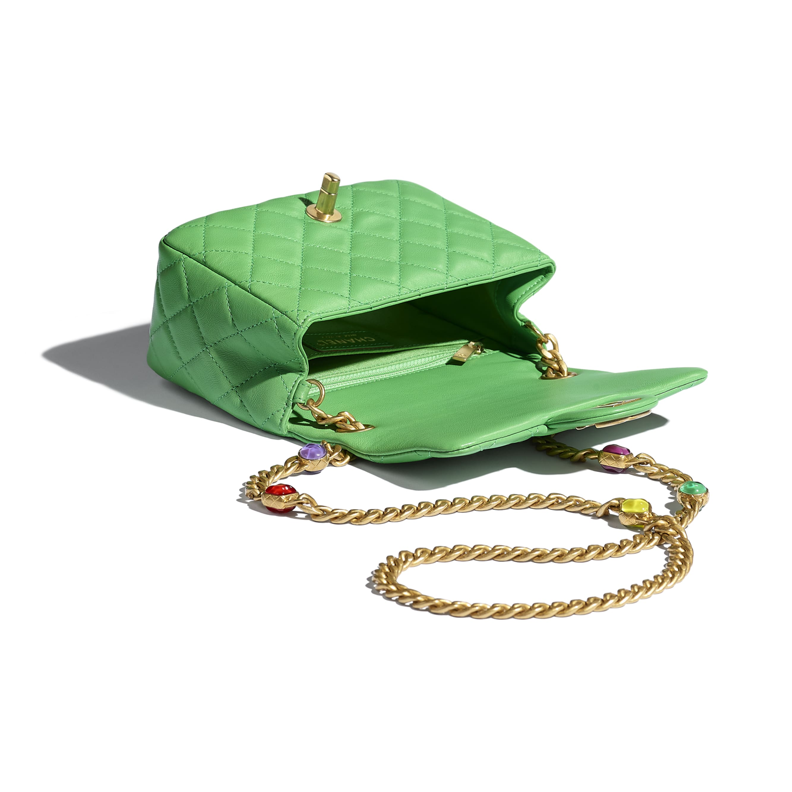 Flap Bag - Green - Lambskin, Resin & Gold-Tone Metal - CHANEL - Other view - see standard sized version