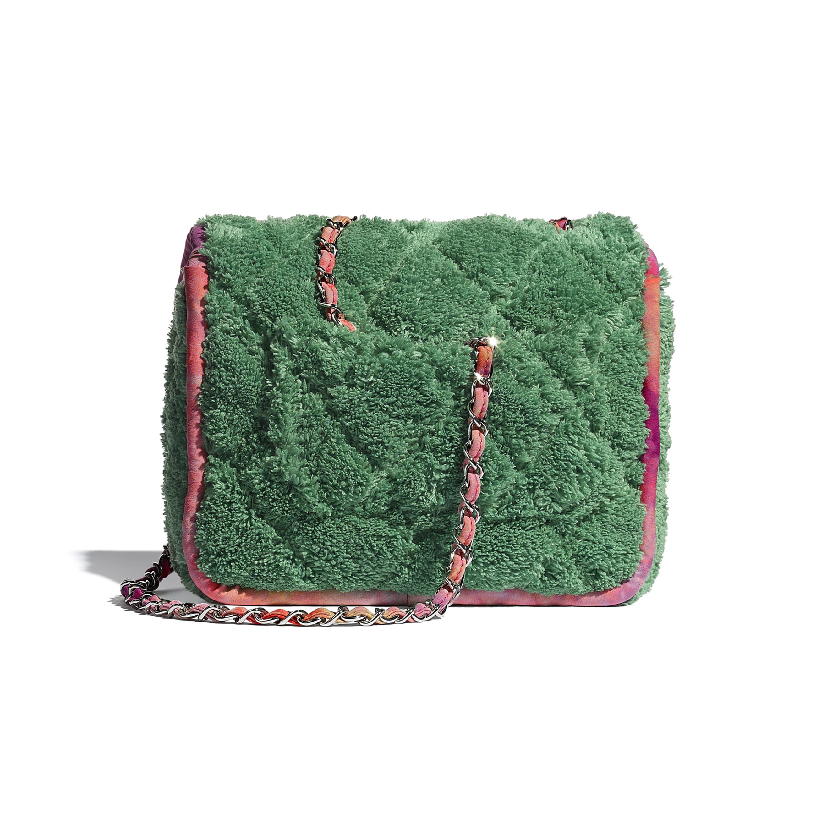 Sac à rabat - Vert - Fibres mélangées & métal argenté - CHANEL - Vue alternative - voir la version taille standard