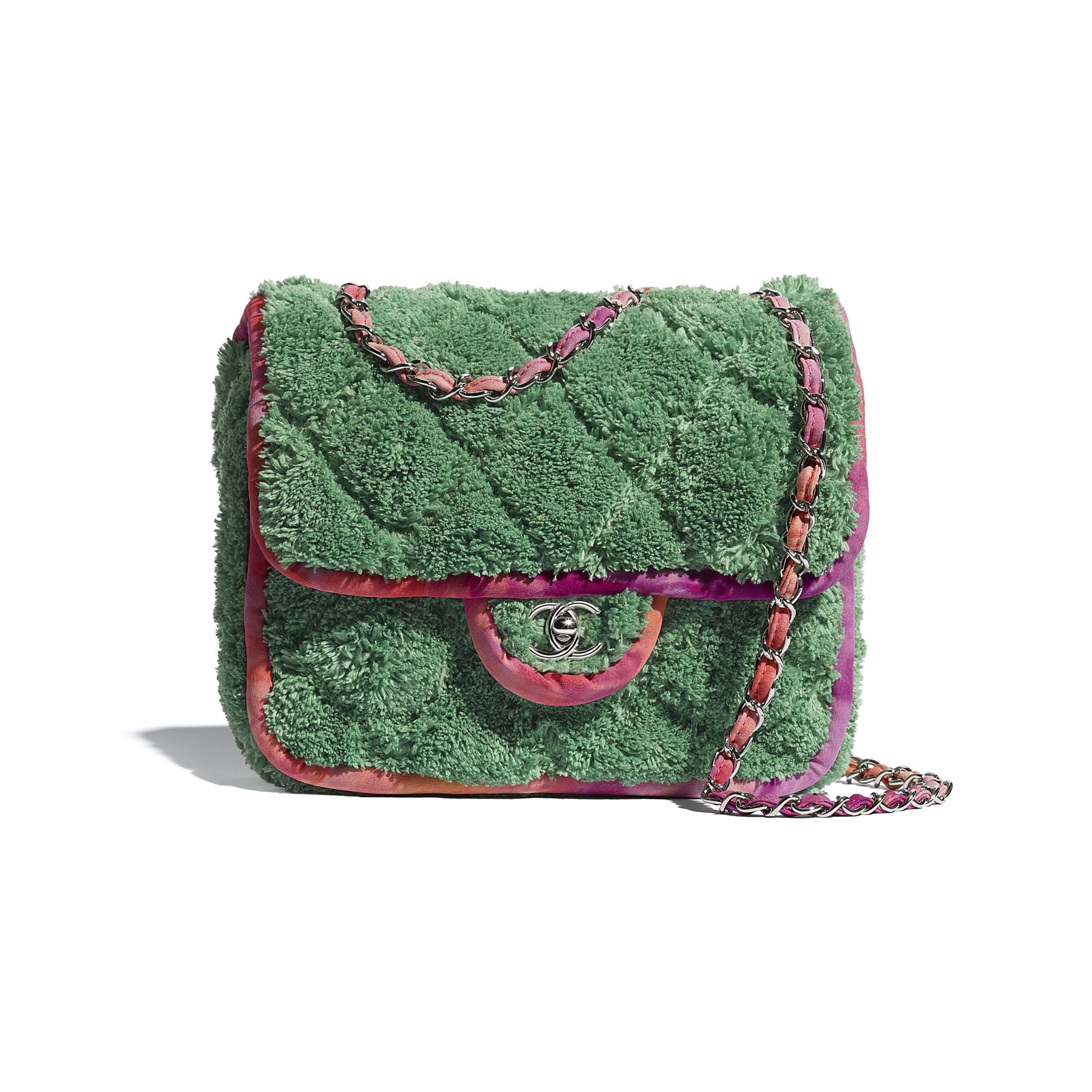 Flap Bag - Green - Mixed Fibers & Silver-Tone Metal - CHANEL - Default view - see standard sized version