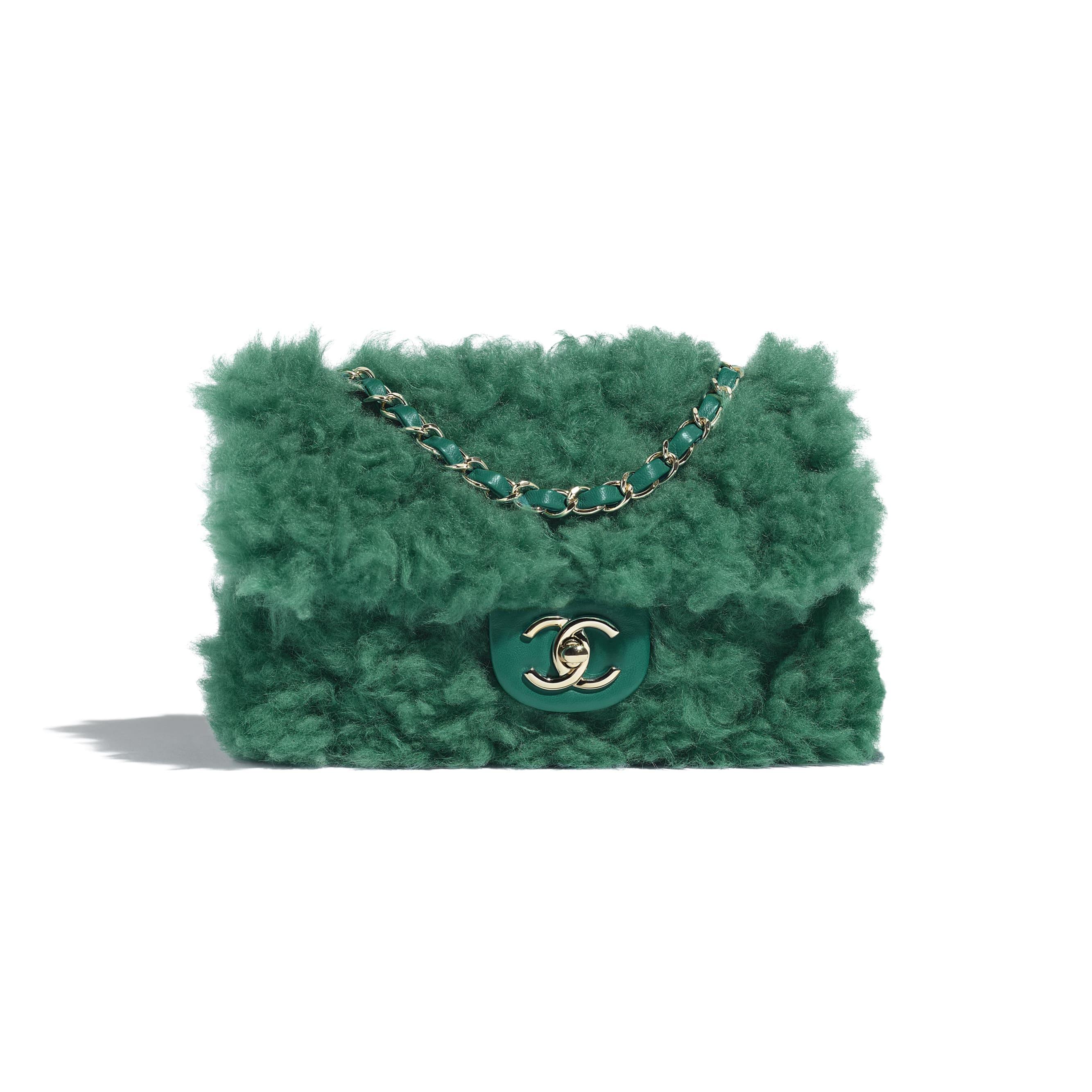 Flap Bag - Green - Shearling Lambskin, Lambskin &Gold-Tone Metal - Default view - see standard sized version
