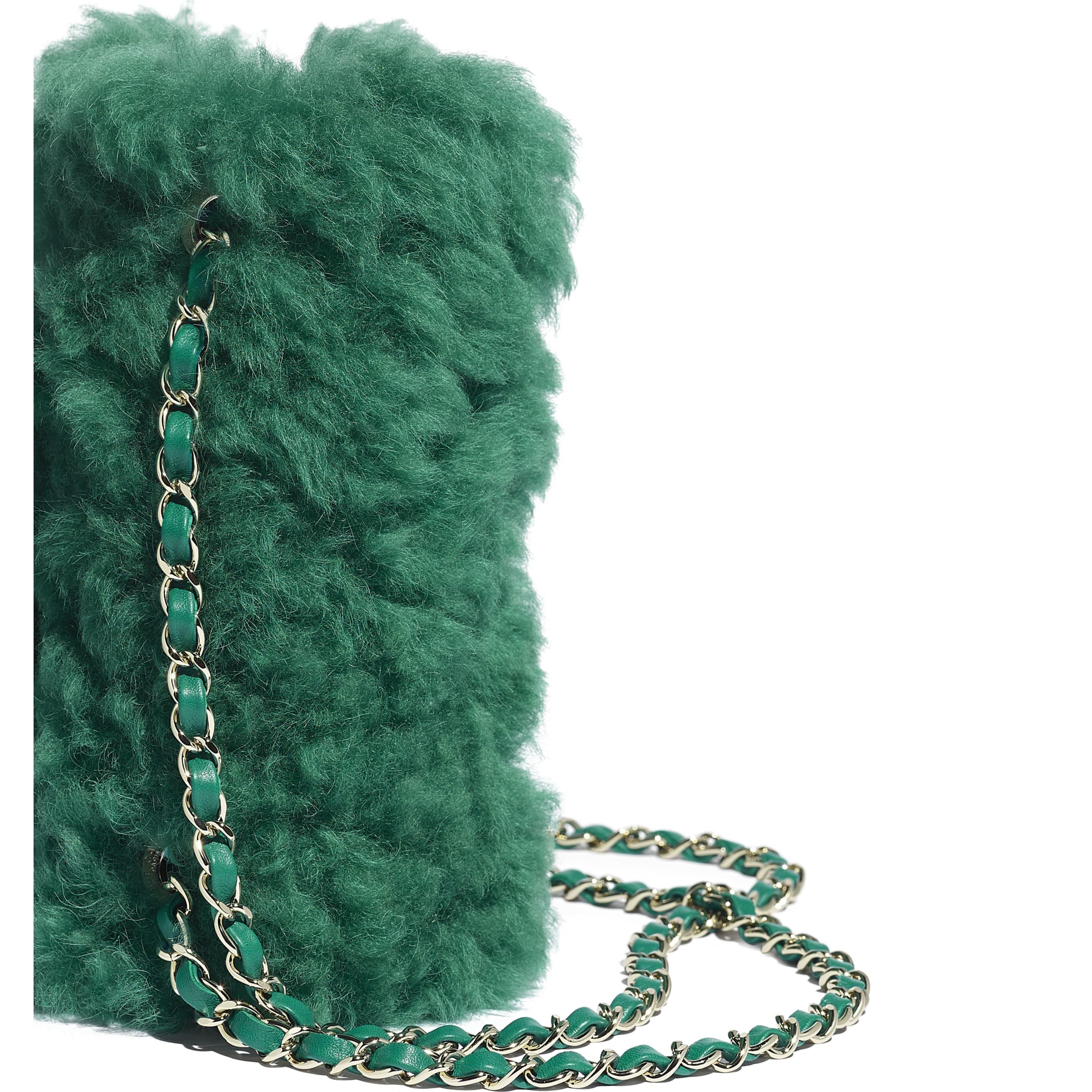 Flap Bag - Green - Shearling Lambskin, Lambskin &Gold-Tone Metal - Extra view - see standard sized version