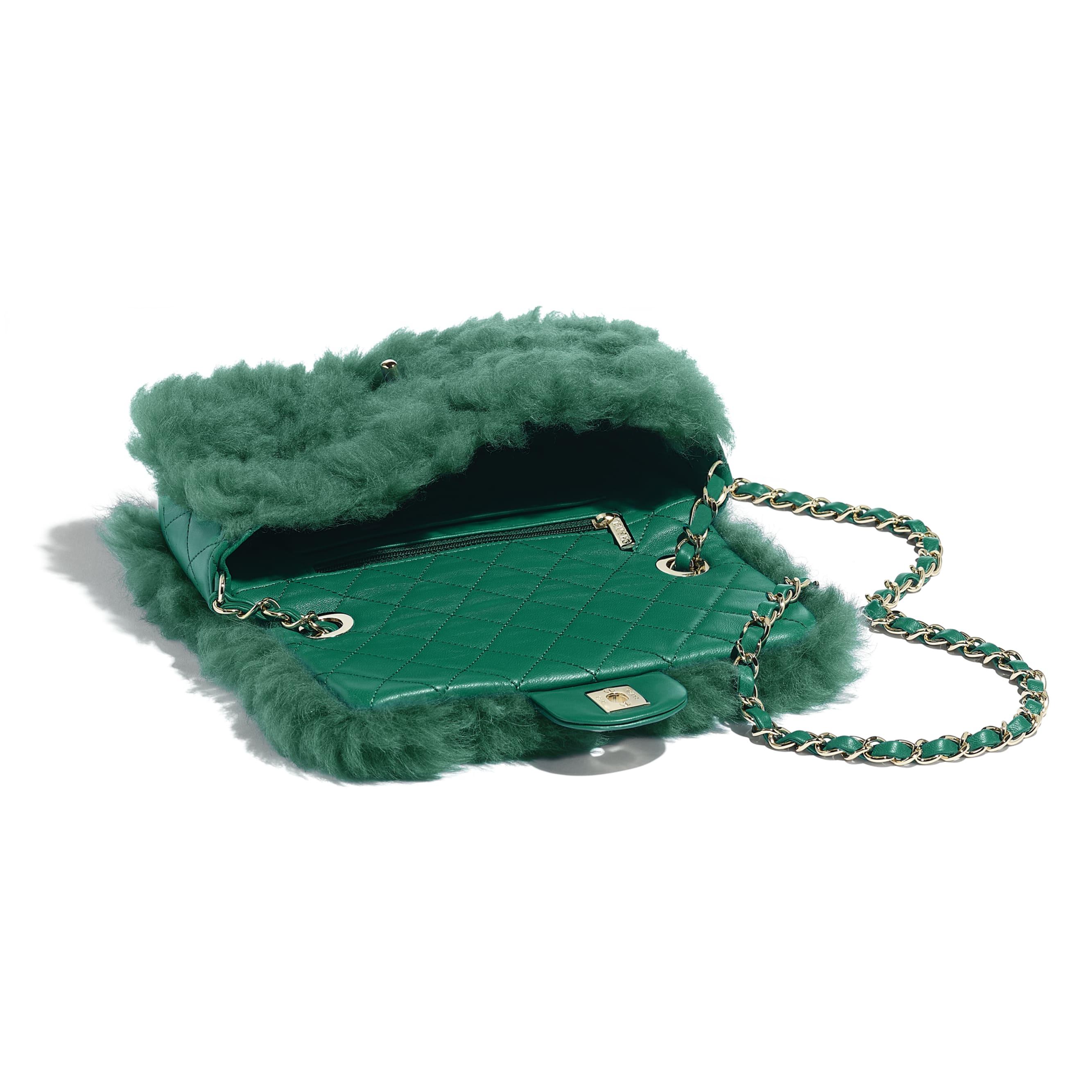 Flap Bag - Green - Shearling Lambskin, Lambskin &Gold-Tone Metal - Other view - see standard sized version