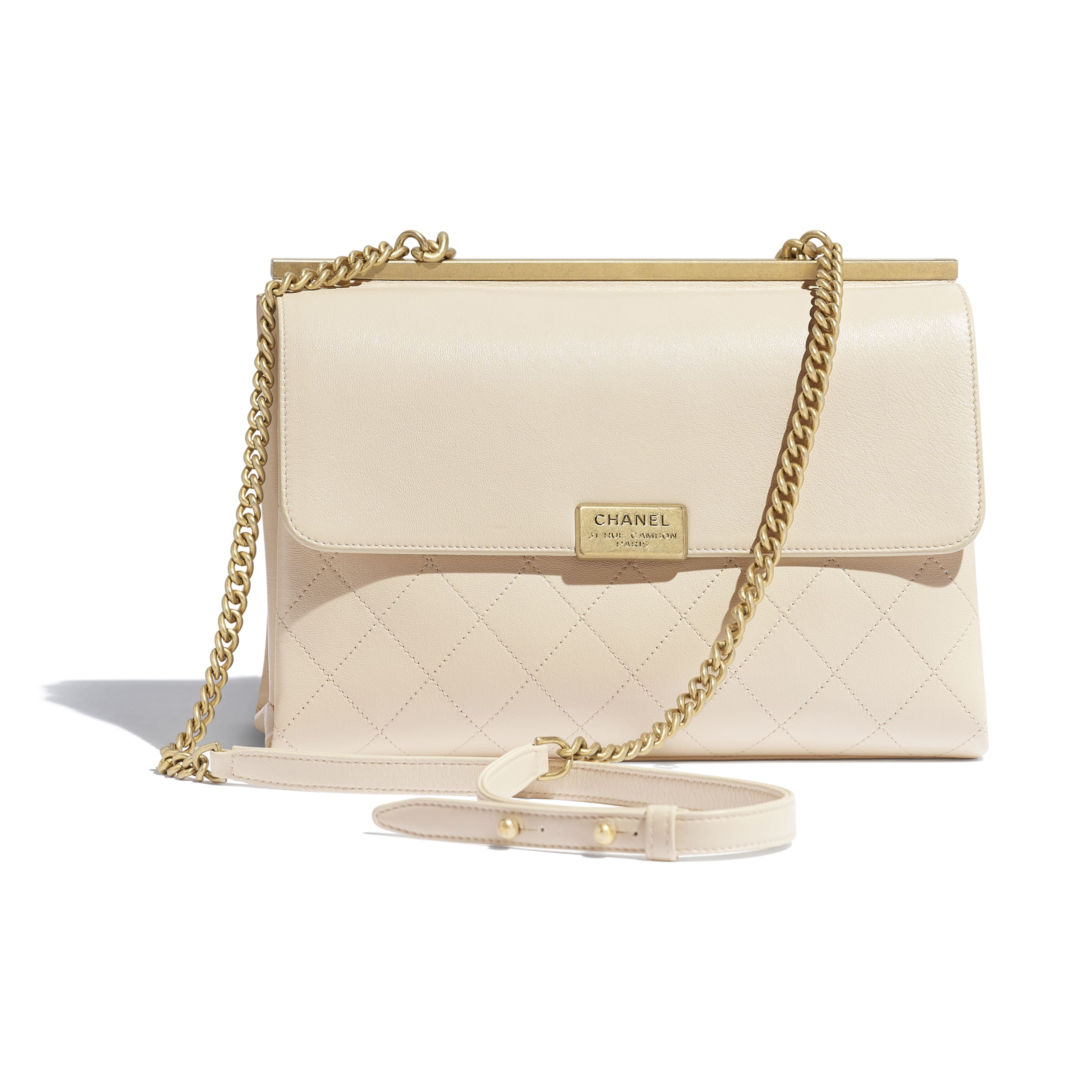 Flap Bag - Light Beige - Lambskin - Alternative view - see standard sized version