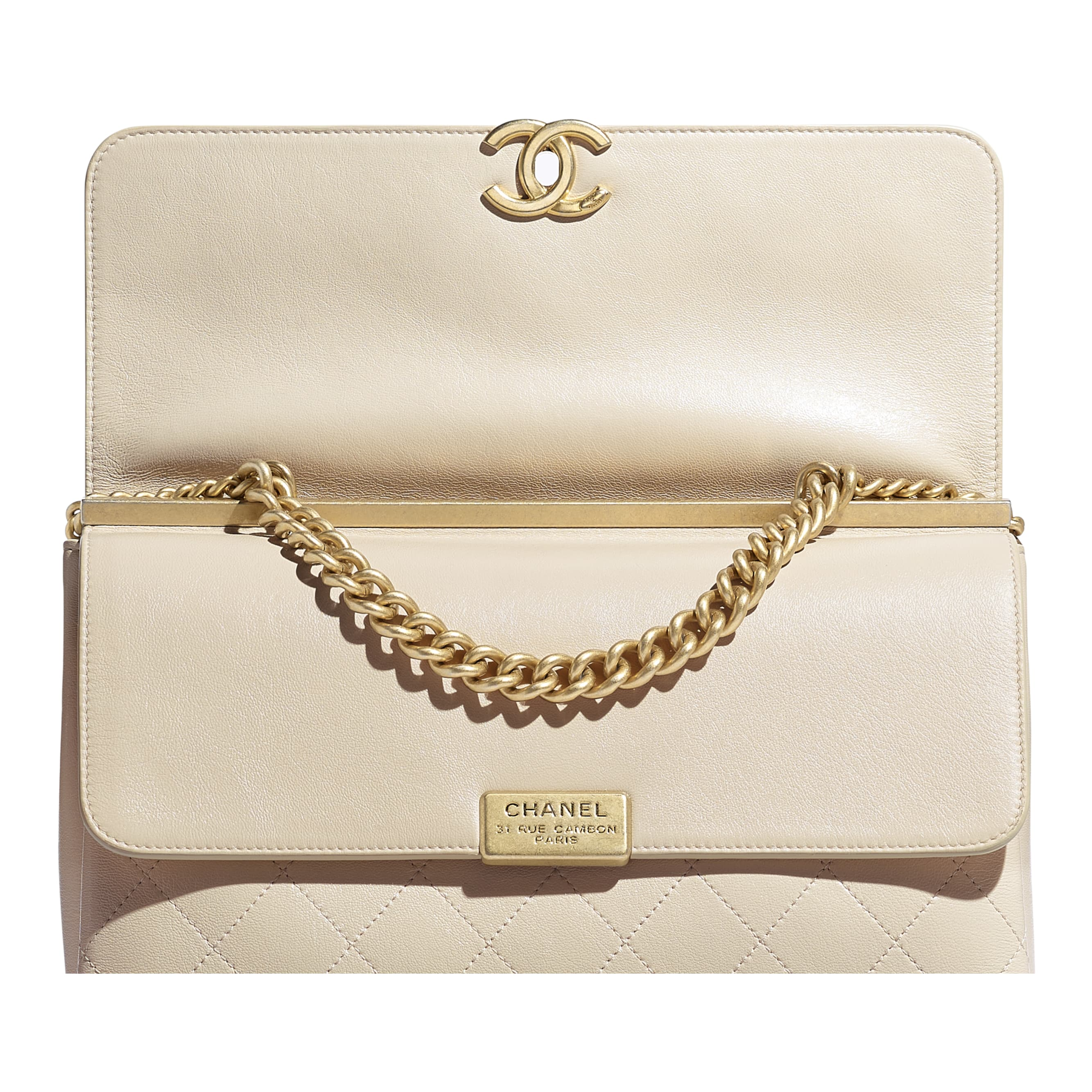Flap Bag - Light Beige - Lambskin & Gold-Tone Metal - CHANEL - Extra view - see standard sized version