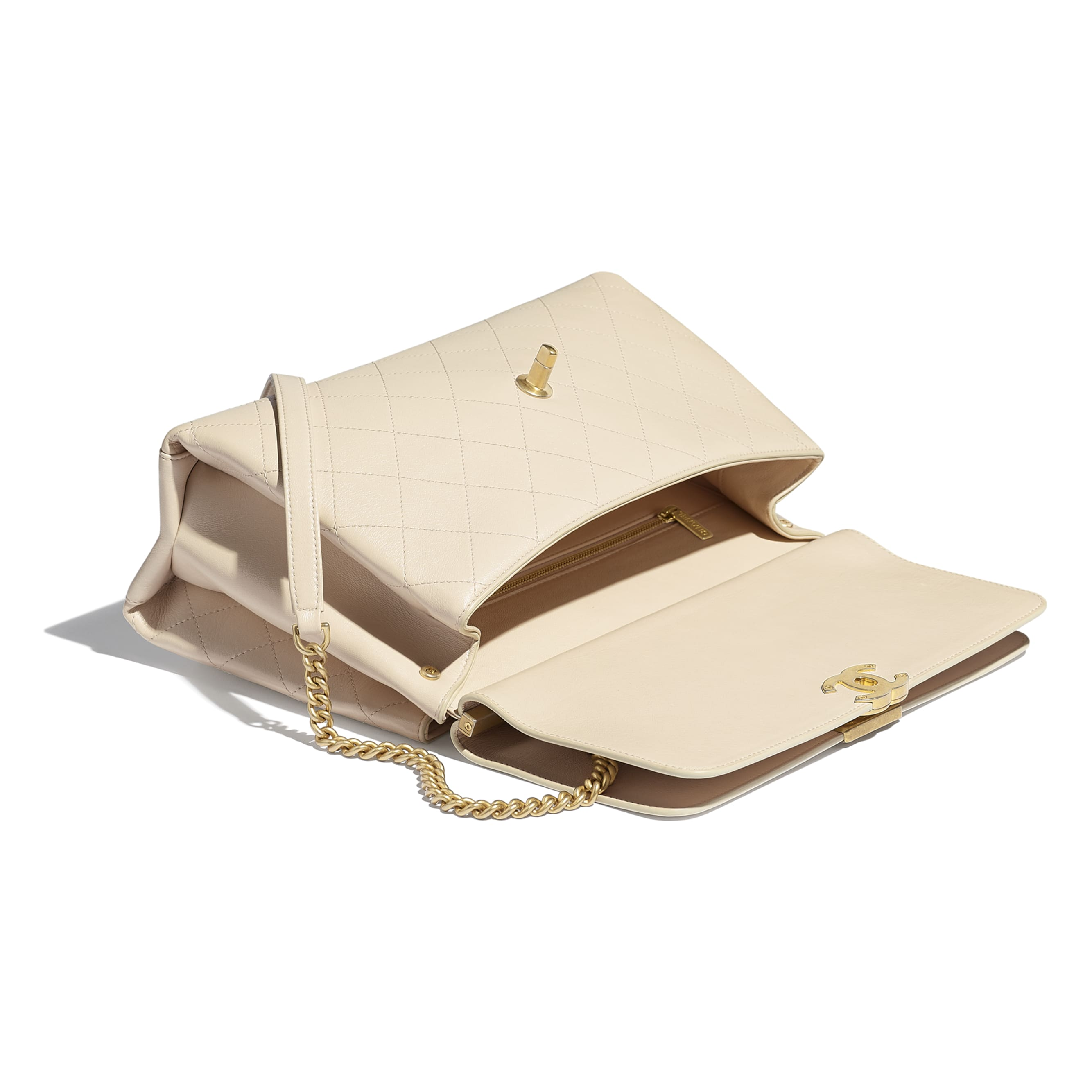 Flap Bag - Light Beige - Lambskin & Gold-Tone Metal - CHANEL - Other view - see standard sized version
