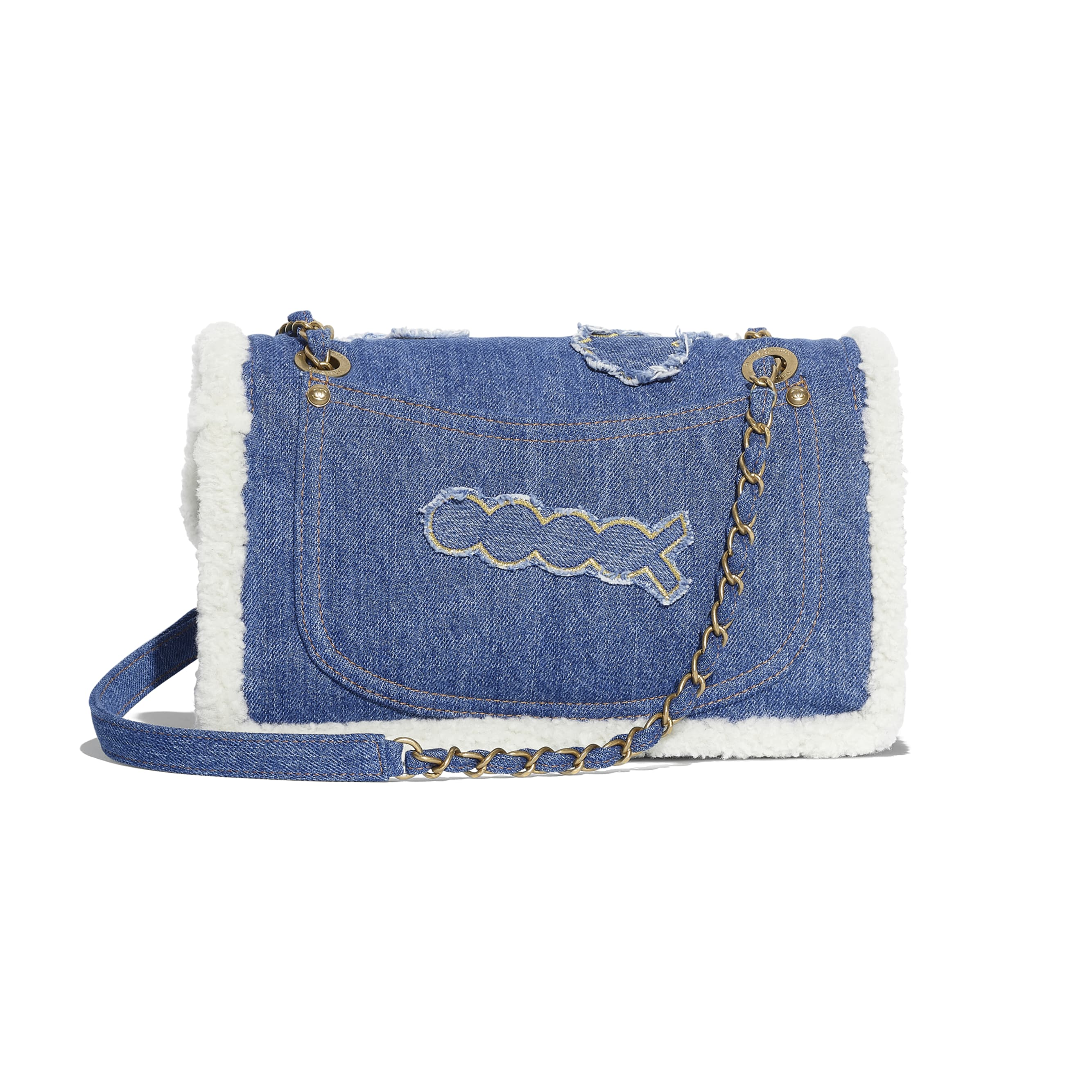 Flap Bag - Light Blue - Cotton, Shearling Sheepskin & Gold-Tone Metal - Alternative view - see standard sized version