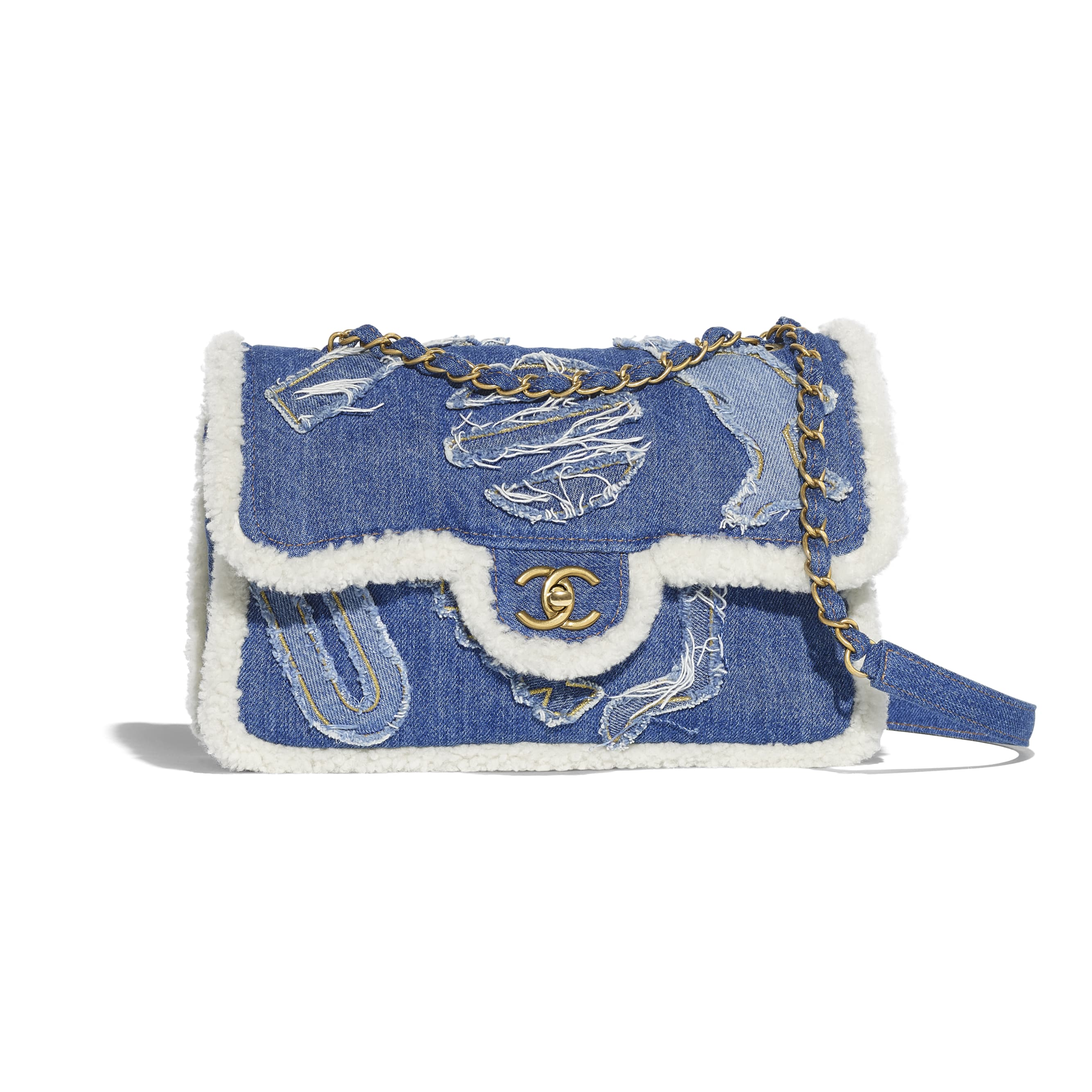 Flap Bag - Light Blue - Cotton, Shearling Sheepskin & Gold-Tone Metal - Default view - see standard sized version