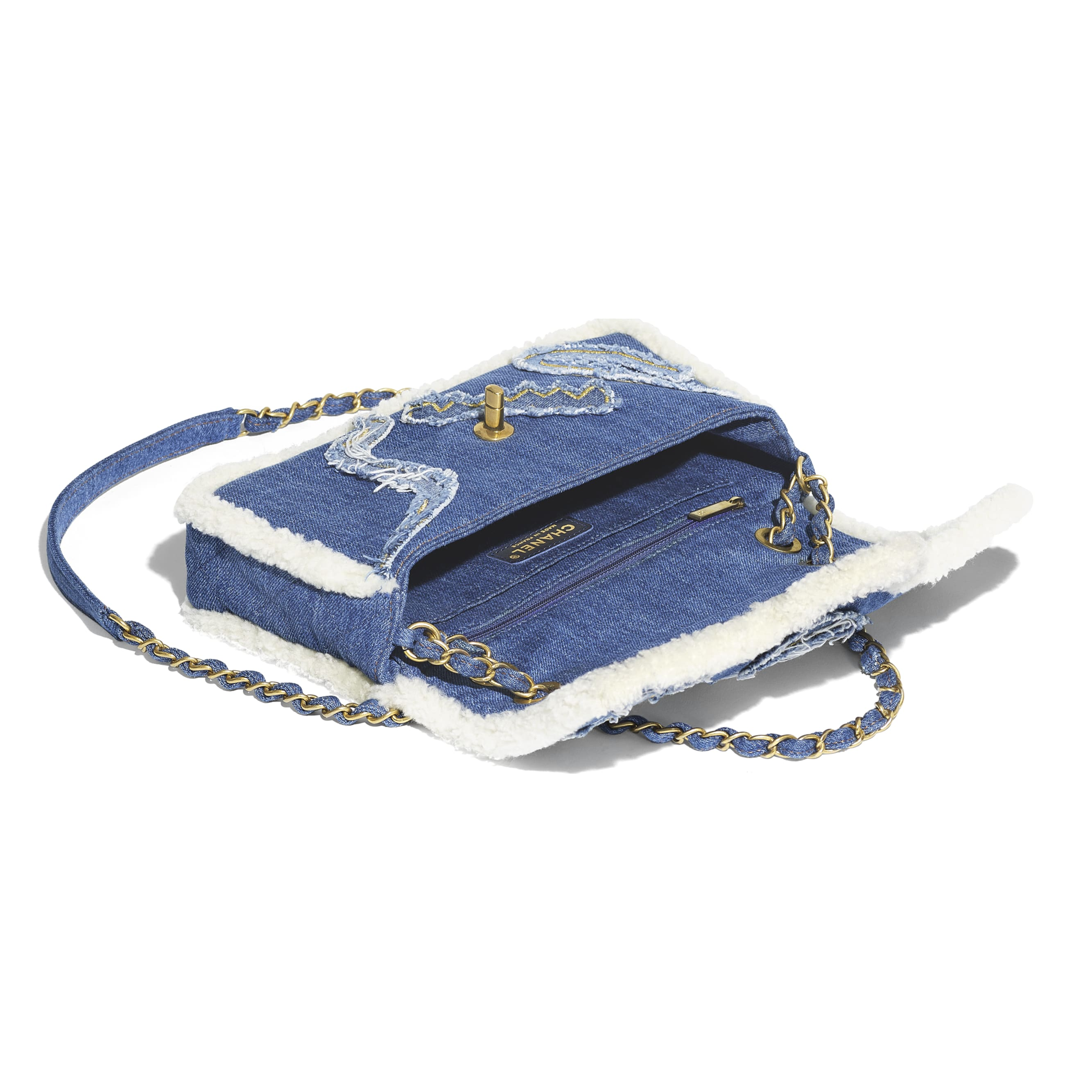 Flap Bag - Light Blue - Cotton, Shearling Sheepskin & Gold-Tone Metal - Other view - see standard sized version