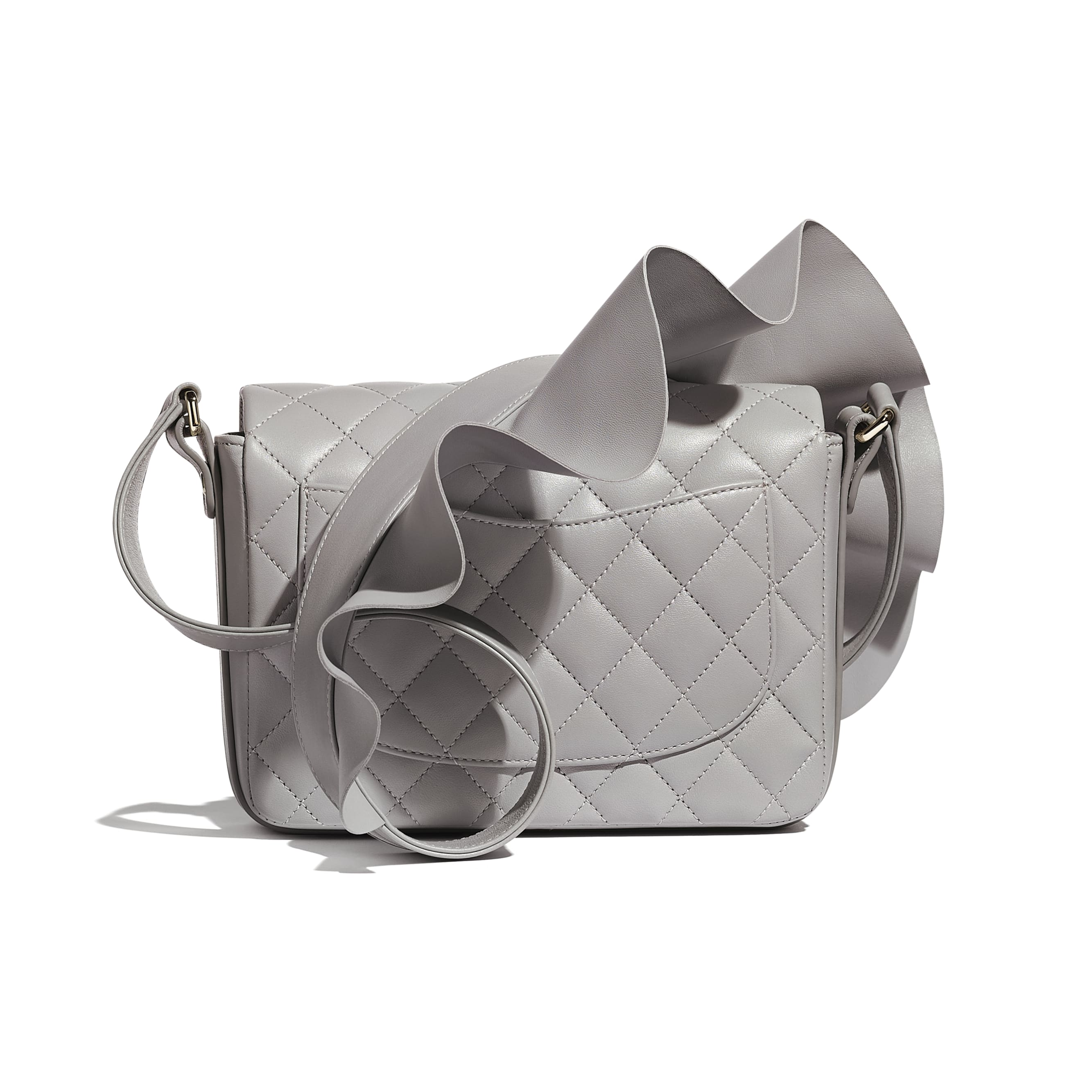 Flap Bag - Light Grey - Lambskin, Calfskin & Gold-Tone Metal - Alternative view - see standard sized version