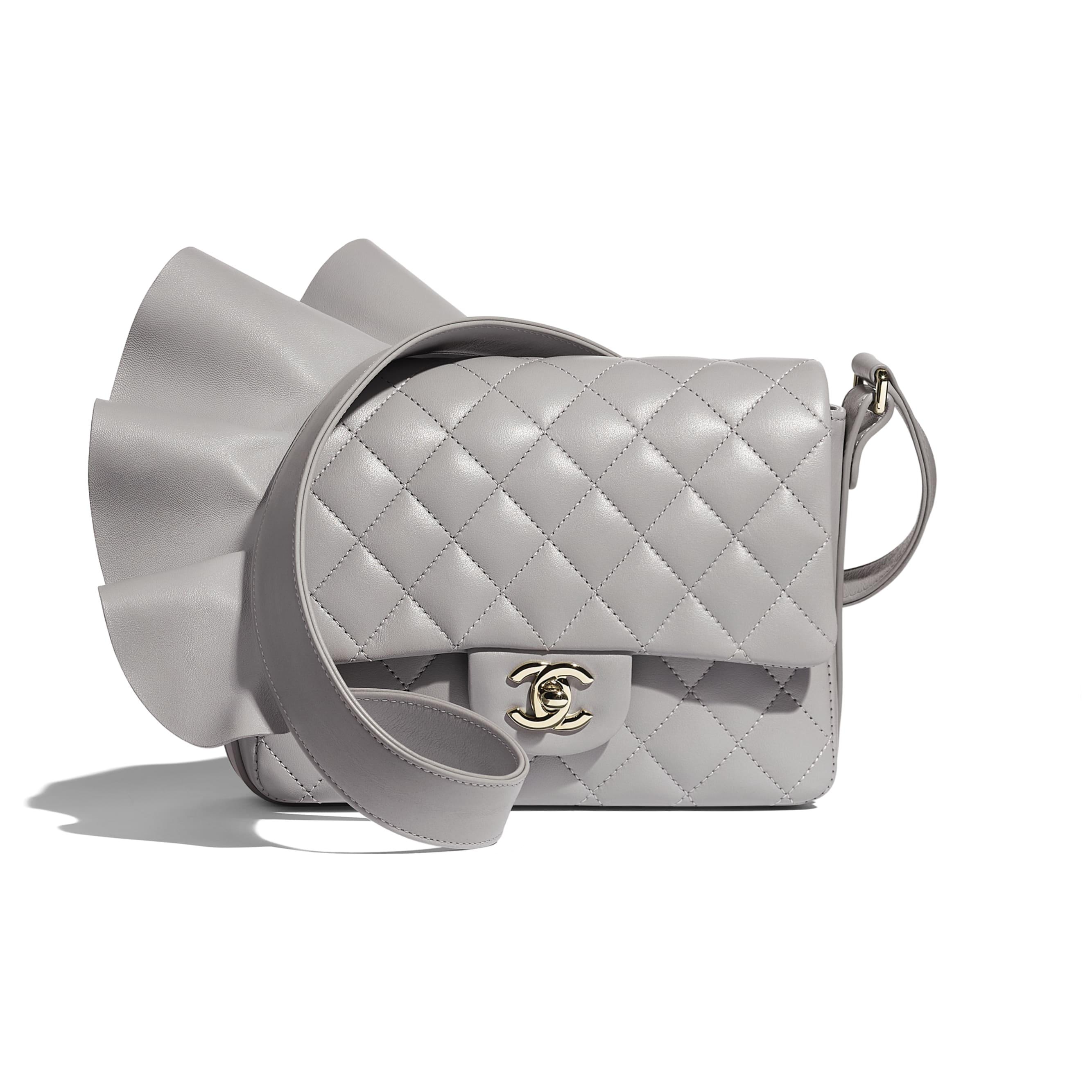 Flap Bag - Light Grey - Lambskin, Calfskin & Gold-Tone Metal - Default view - see standard sized version