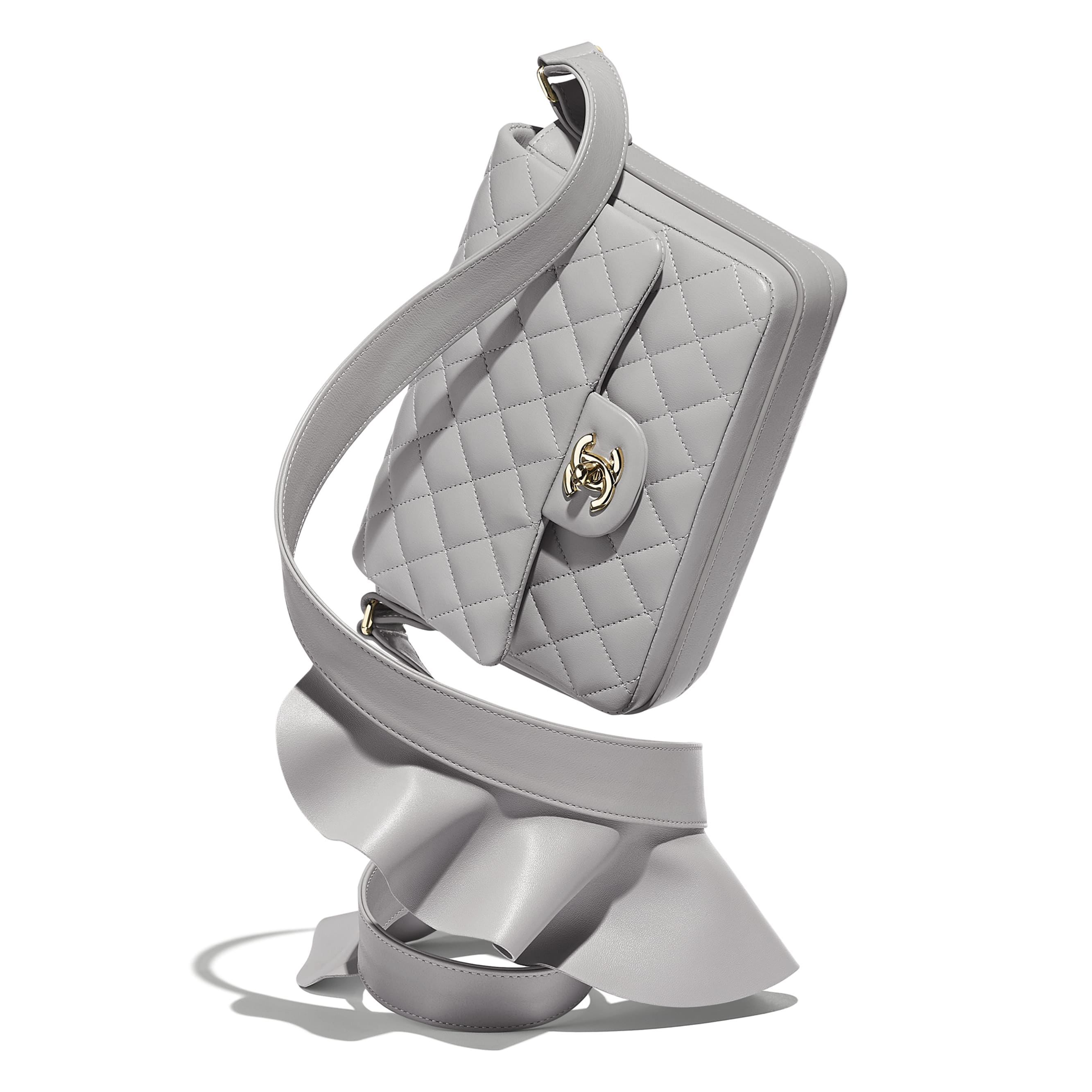 Flap Bag - Light Grey - Lambskin, Calfskin & Gold-Tone Metal - Extra view - see standard sized version