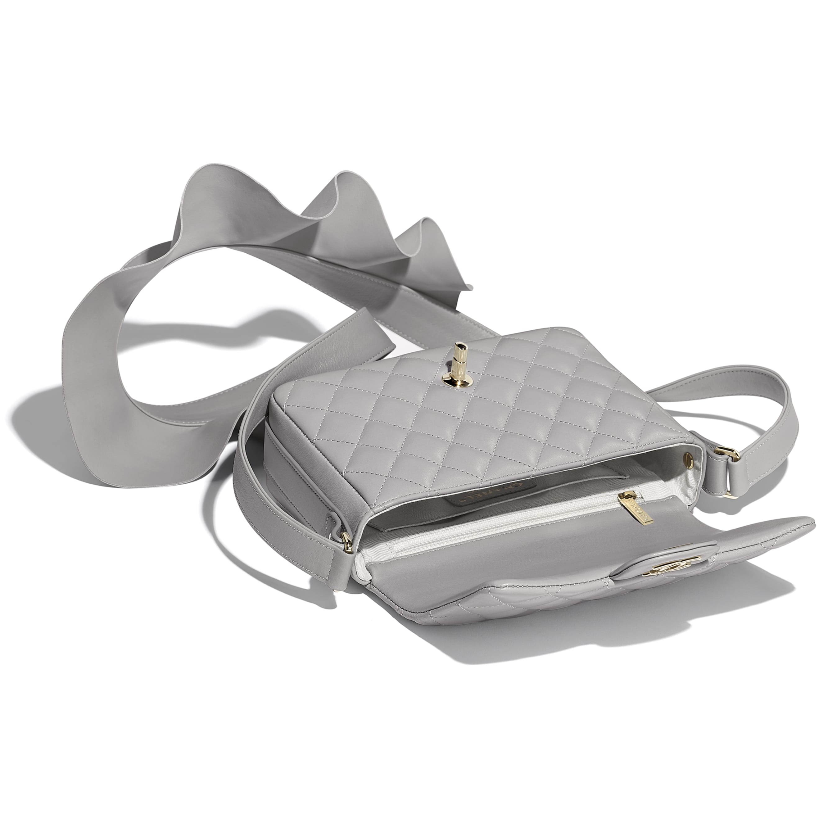 Flap Bag - Light Grey - Lambskin, Calfskin & Gold-Tone Metal - Other view - see standard sized version