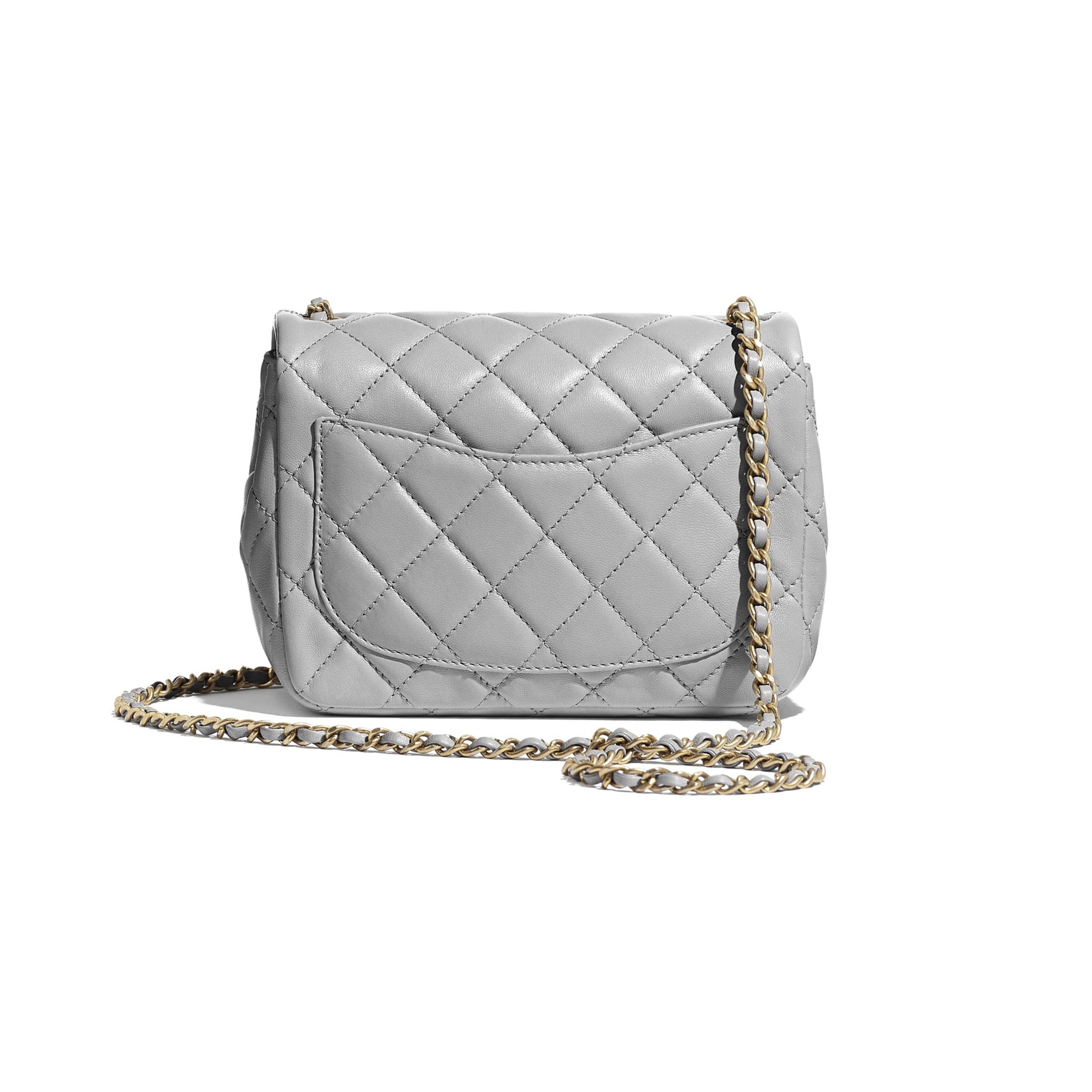 Flap Bag - Light Grey - Lambskin - Alternative view - see standard sized version