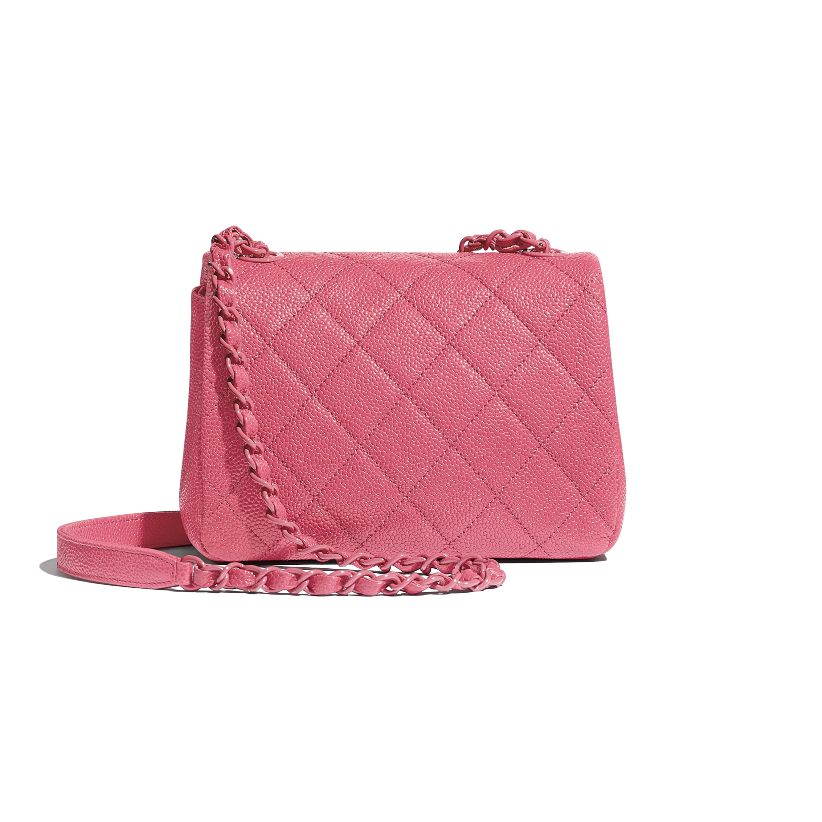 Flap Bag - Light Pink - Grained Calfskin & Lacquered Metal - Alternative view - see standard sized version