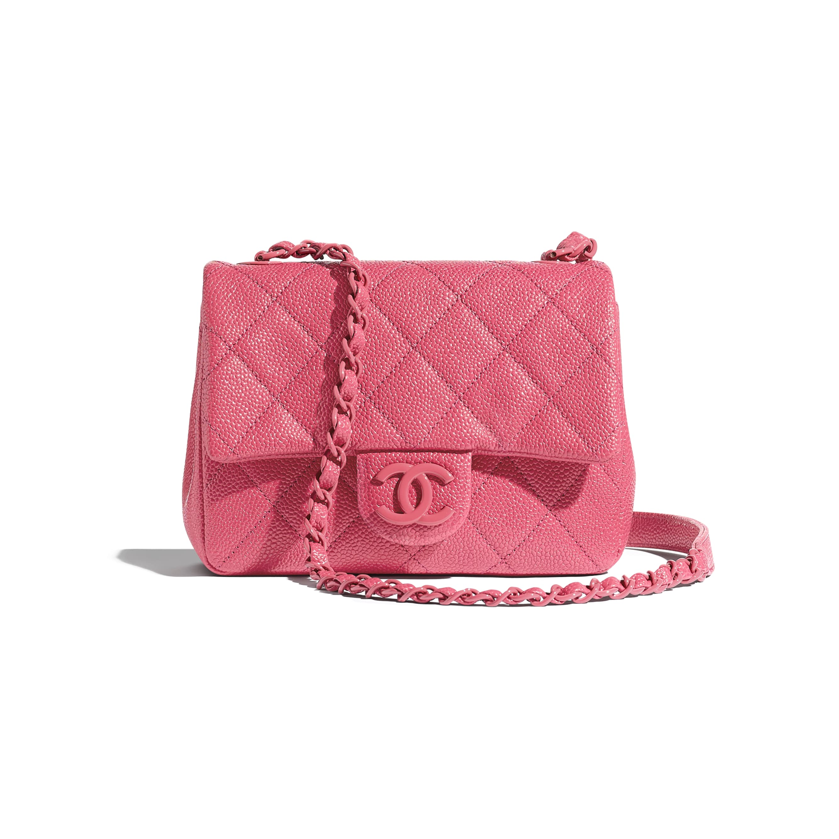 Flap Bag - Light Pink - Grained Calfskin & Lacquered Metal - Default view - see standard sized version