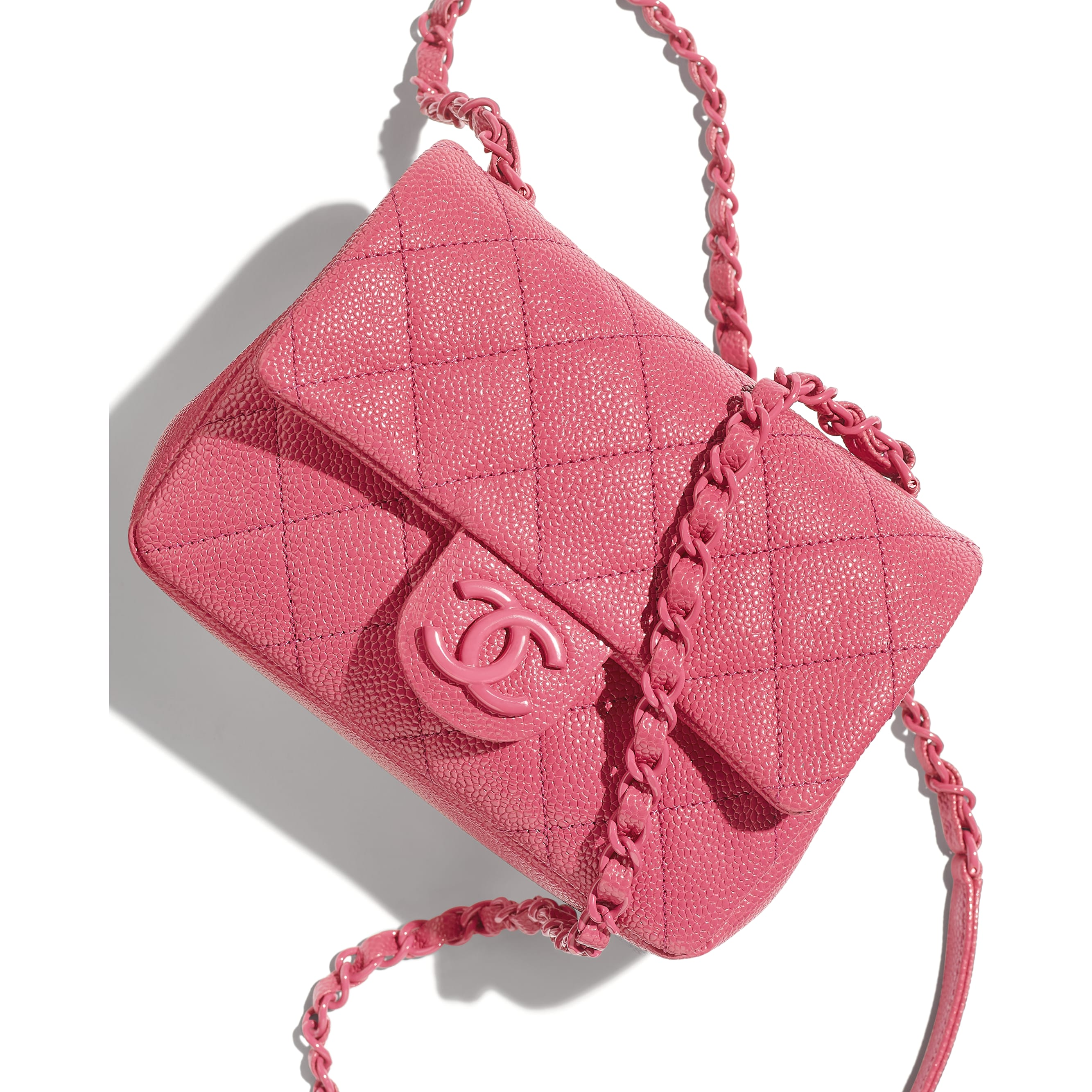 Flap Bag - Light Pink - Grained Calfskin & Lacquered Metal - CHANEL - Extra view - see standard sized version