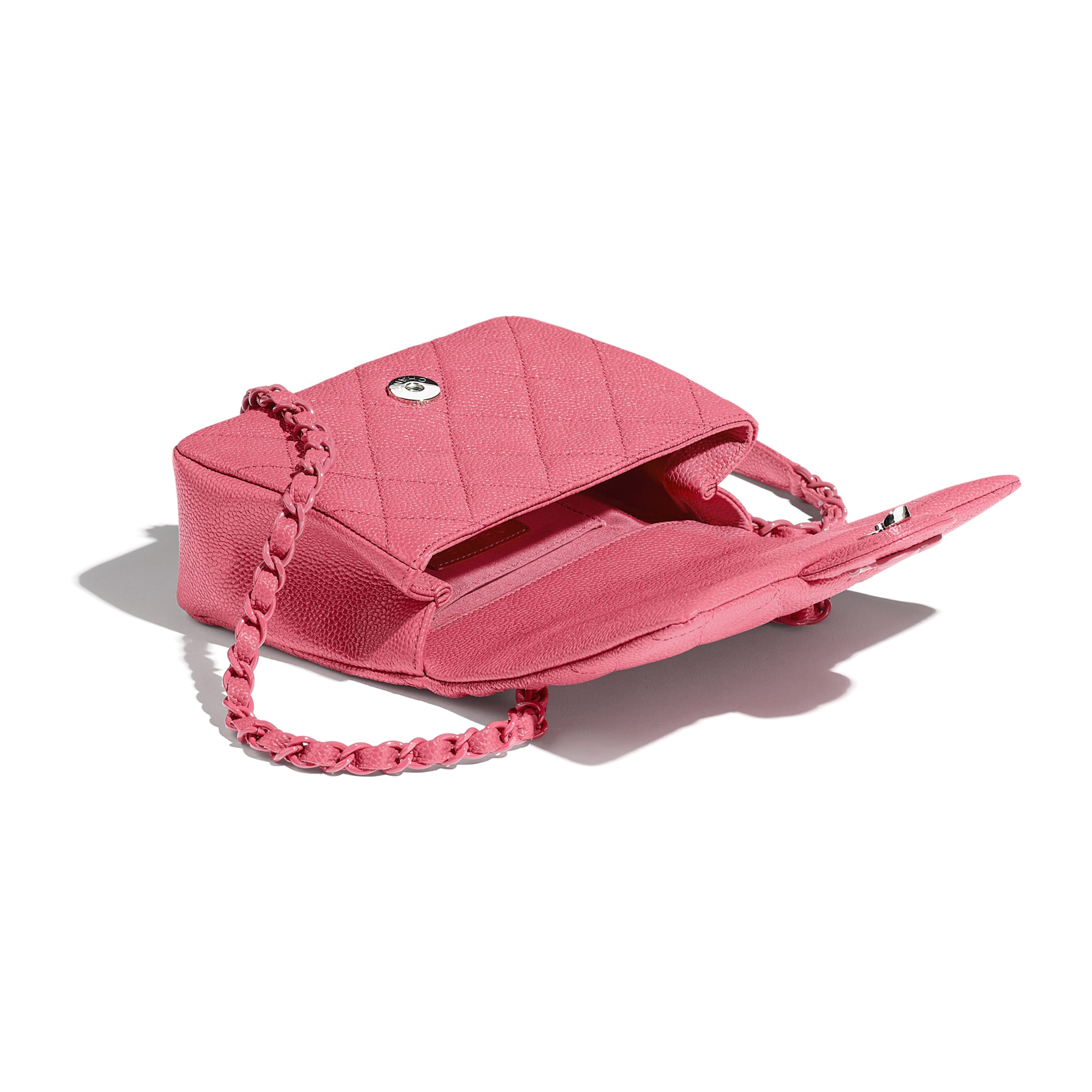 Flap Bag - Light Pink - Grained Calfskin & Lacquered Metal - Other view - see standard sized version